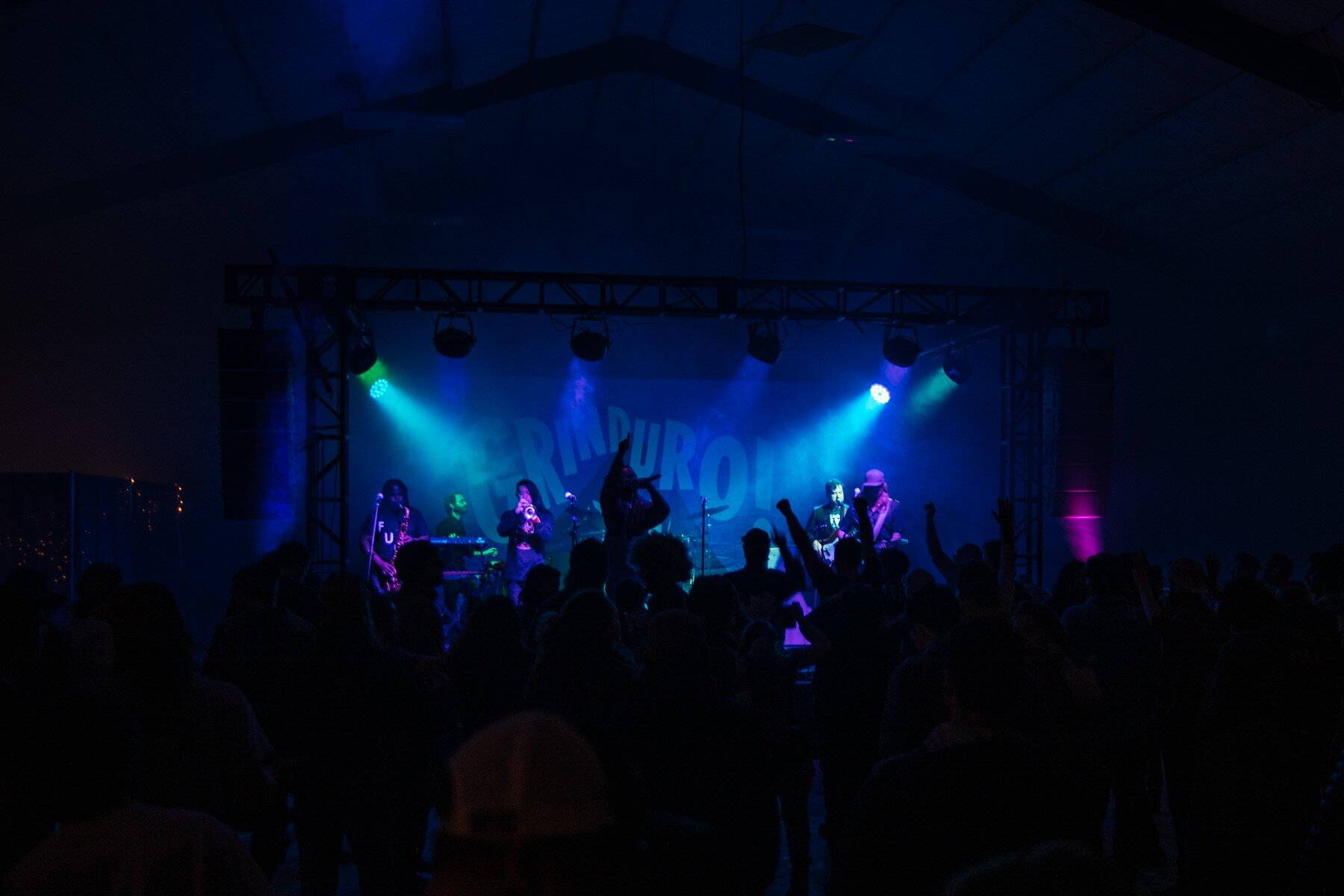 Grinduro 2019 Bike Race Live Music Purple Blue Stage Lights