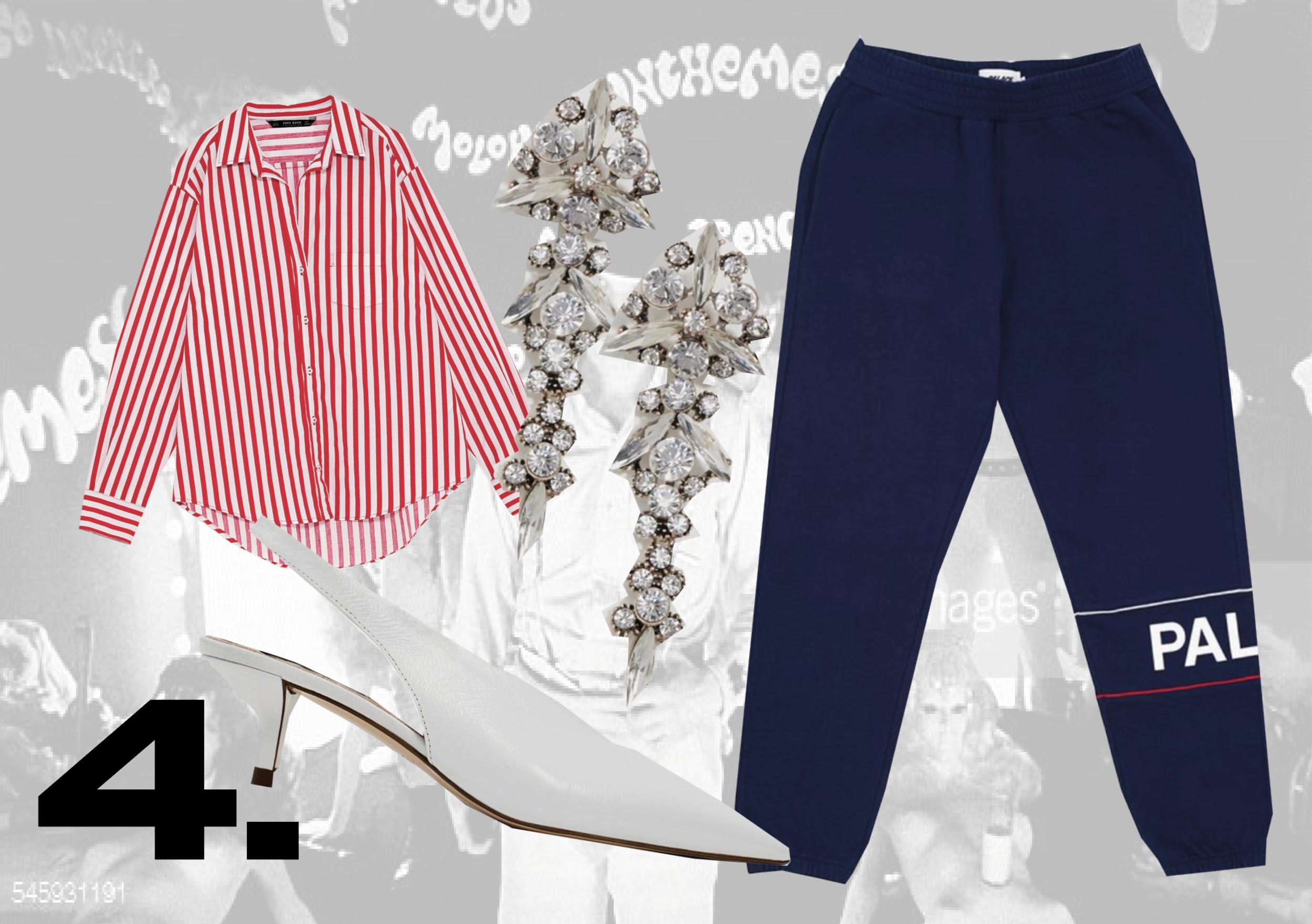 SHIRT:  Zara  | SLING-BACK HEELS:  Zara  | EARRINGS:  ASOS  | SWEATPANTS:  Palace Skateboards