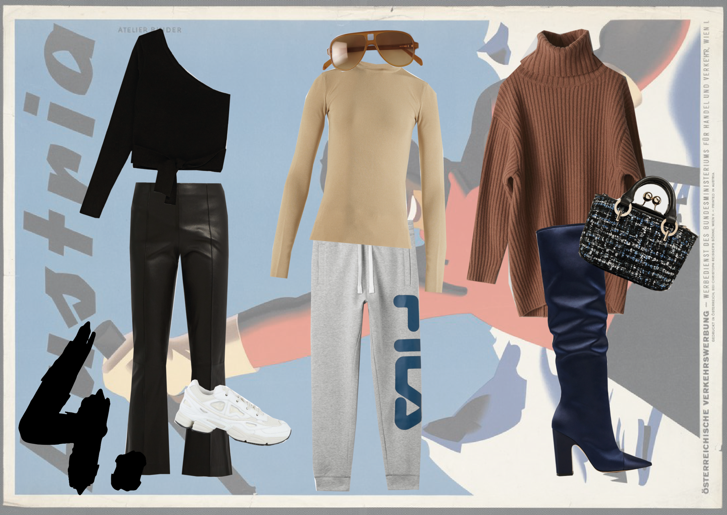 By sticking to a colour palette of blues, camels, blacks and whites, you can create multiple looks with only 8-10 pieces.