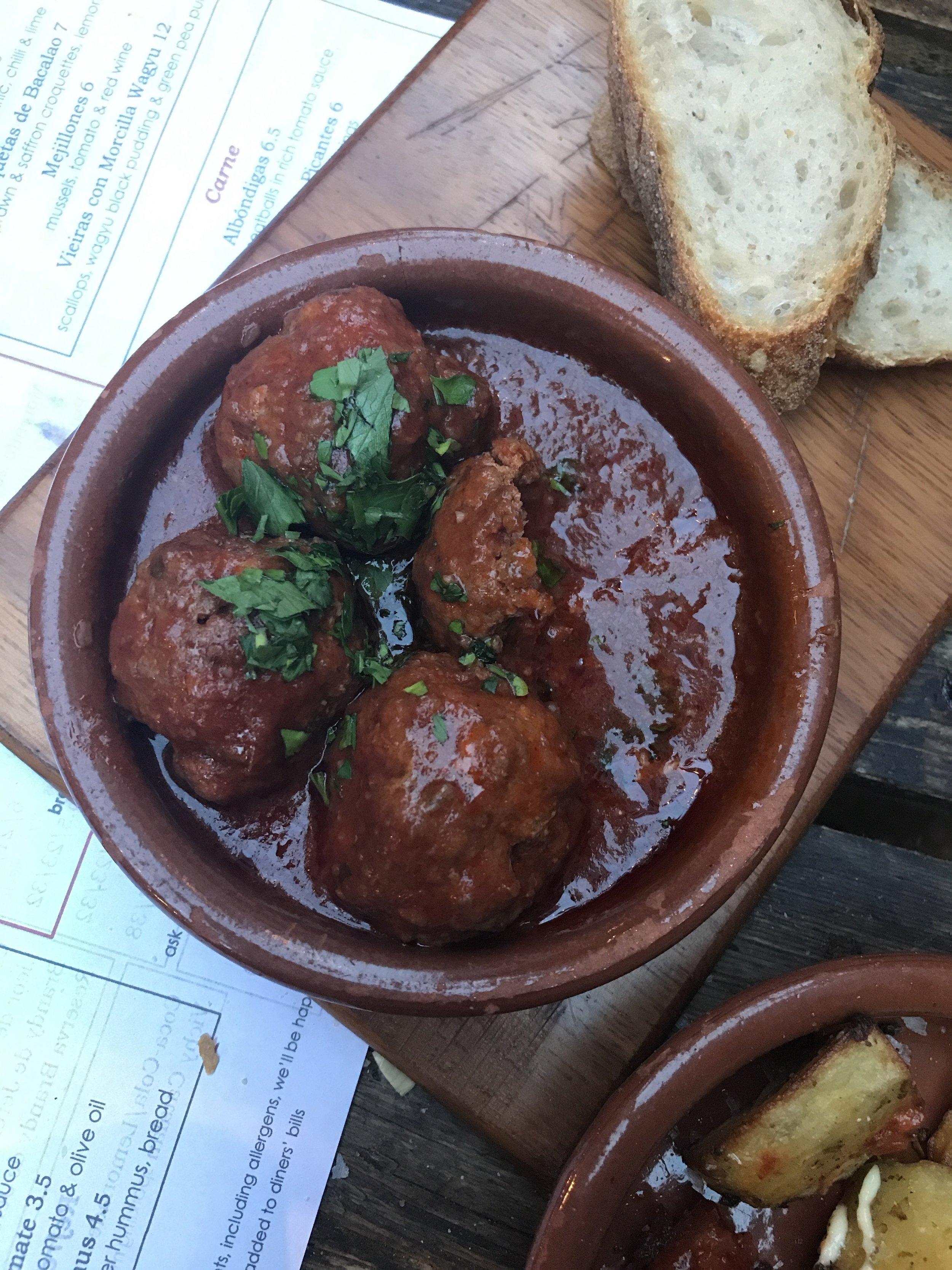 'Albondigas' – pork & beef meatballs £6.50