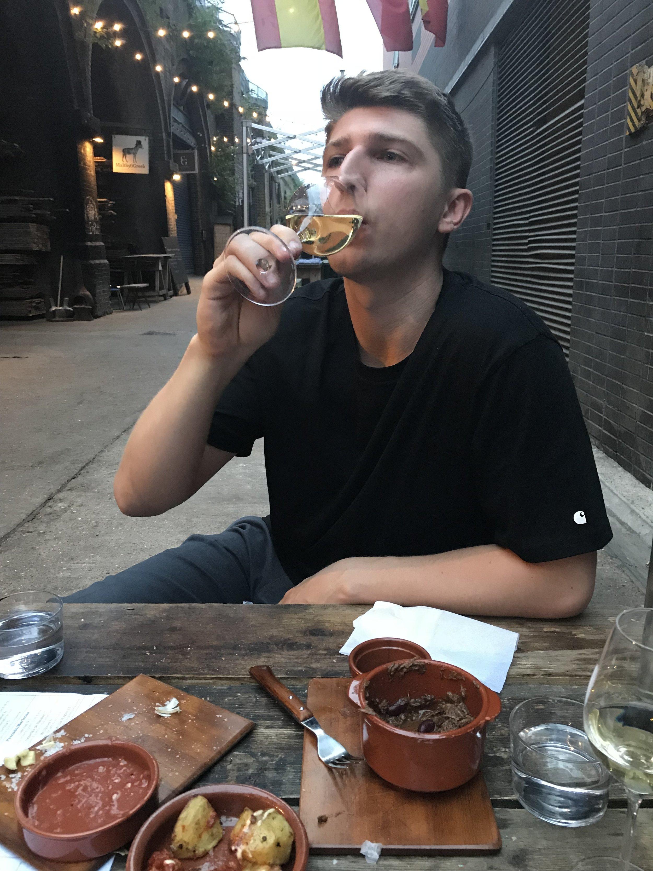Lewis enjoying some Spanish vino