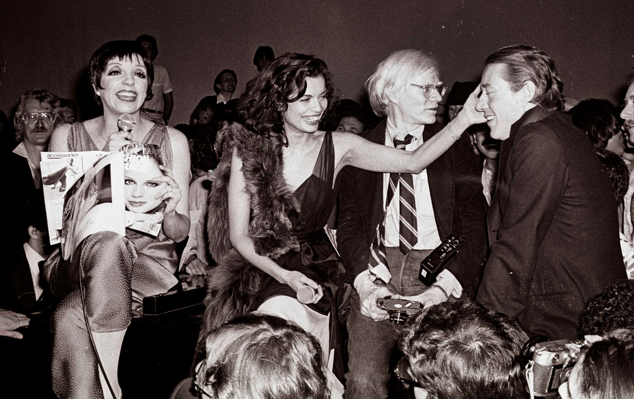 Liza Minelli, Bianca Jagger, Andy Warhol, and Halston at Studio 54. Photographer: Adam Schull.