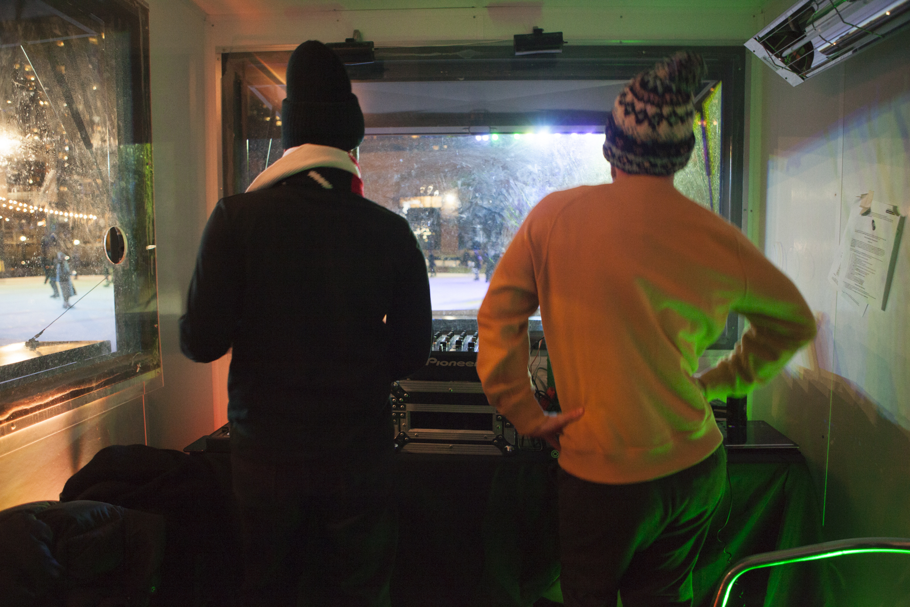 Inside the DJ booth looking out onto the rink!