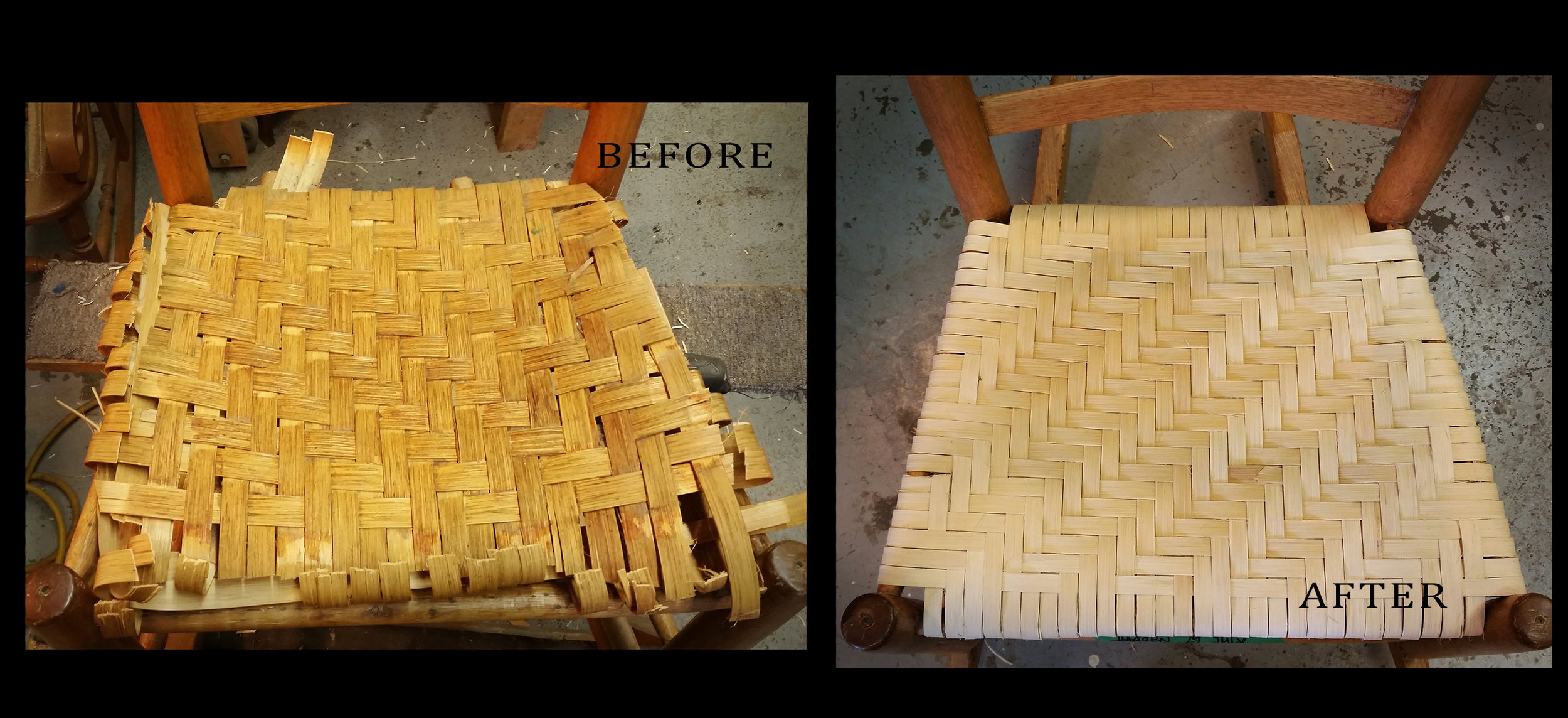 A Pith rocking chair seat. Before (left) after (right)