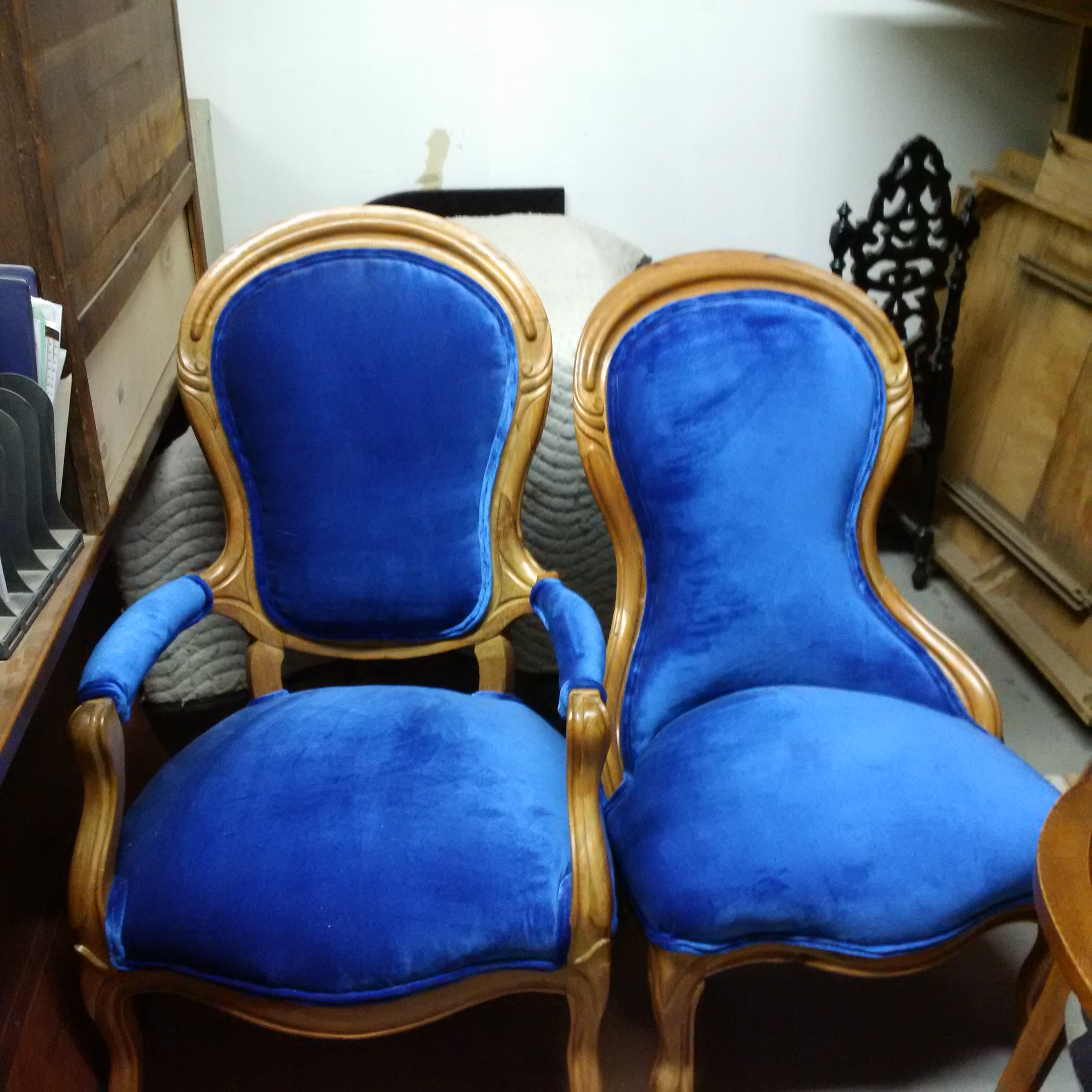 We also offer upholstery. You can bring your own fabric in, or choose from our supply. We have hundreds to choose from.