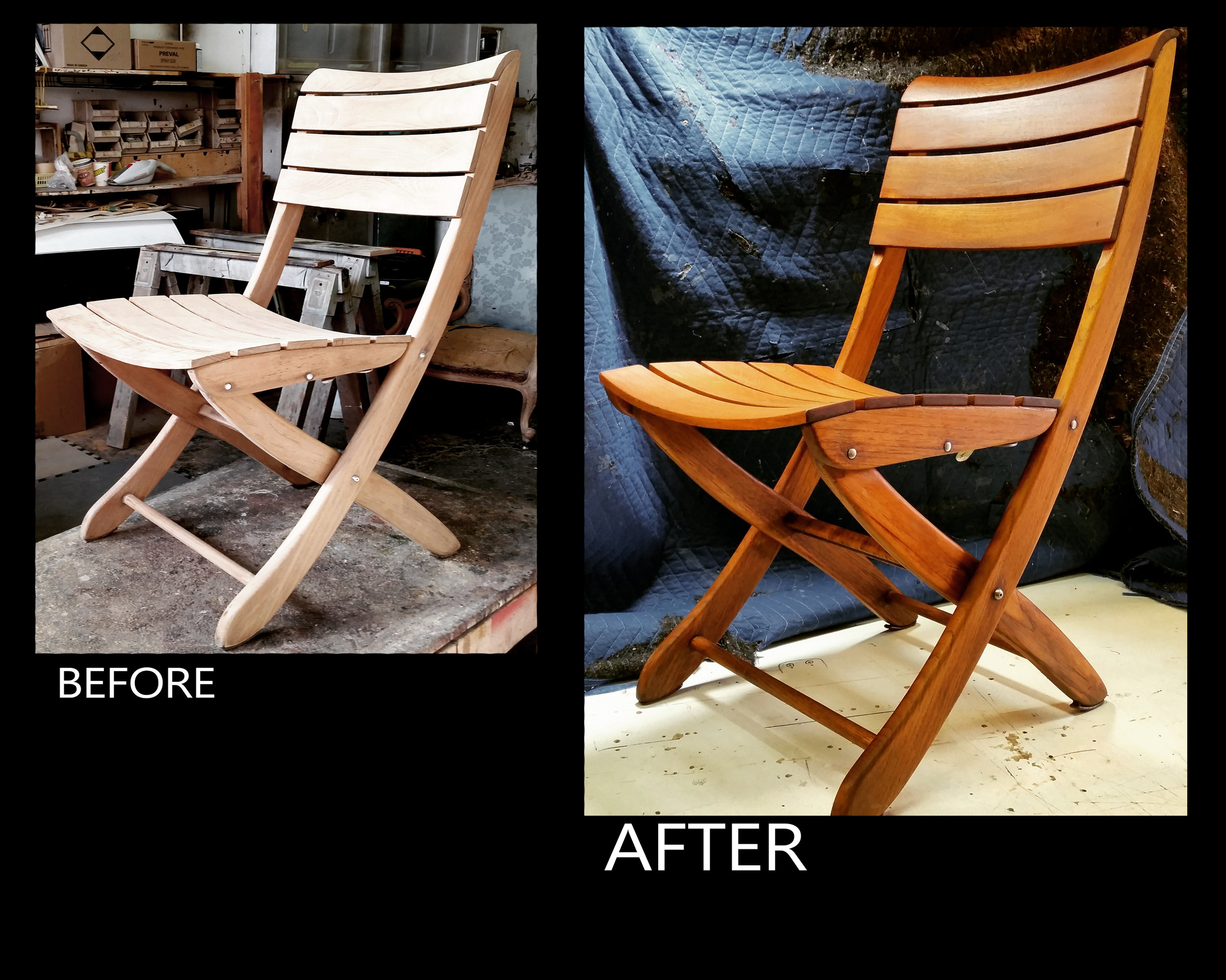 Teak folding chairs before and after oiling.