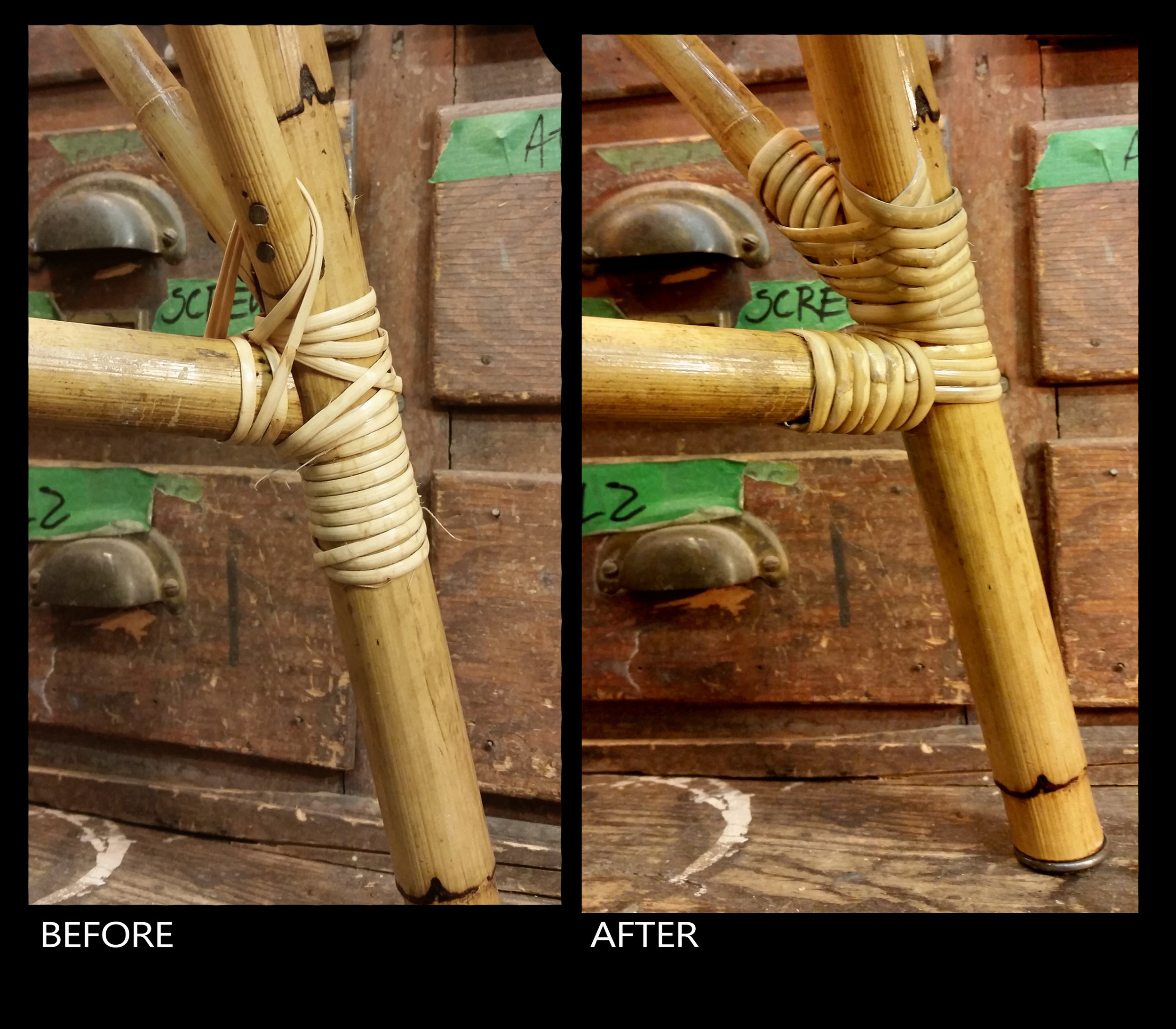 Woven binding cane on bamboo