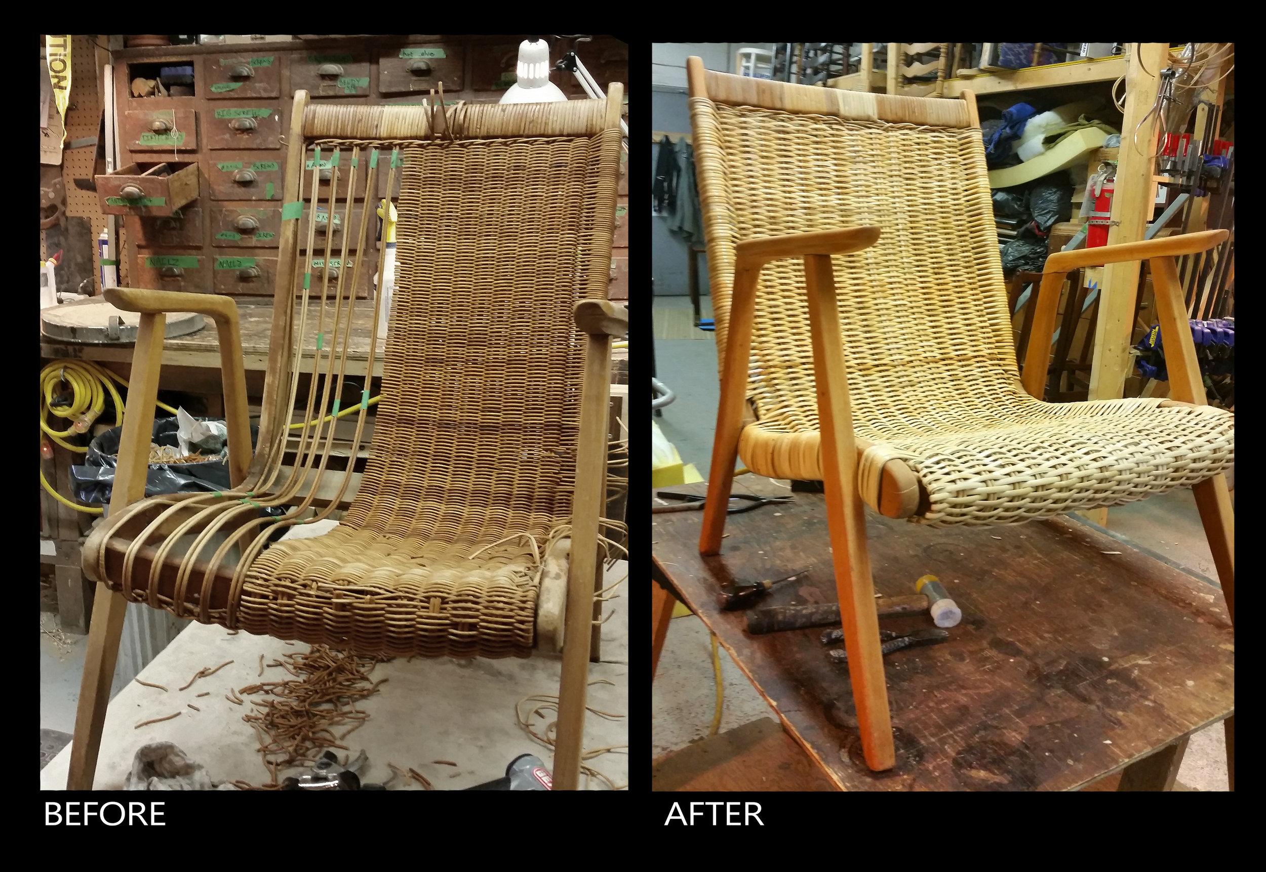 mid-century modern lounging binding cane chair.