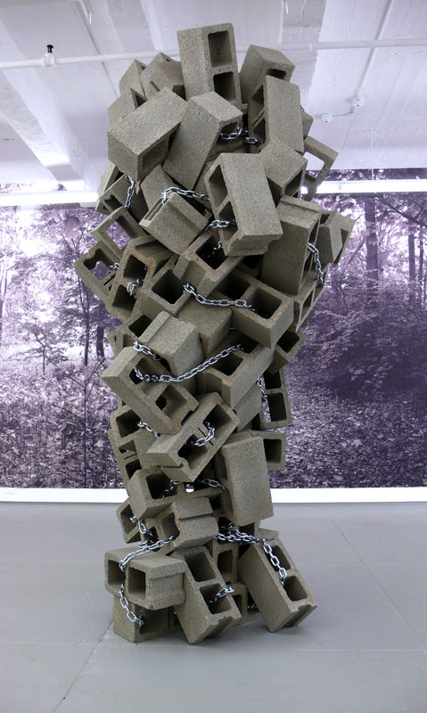 Alejandro Almanza Pereda © 2010 ,  The tie that binds . Cinder blocks, chain, lock, key chain. Courtesy of the artist.