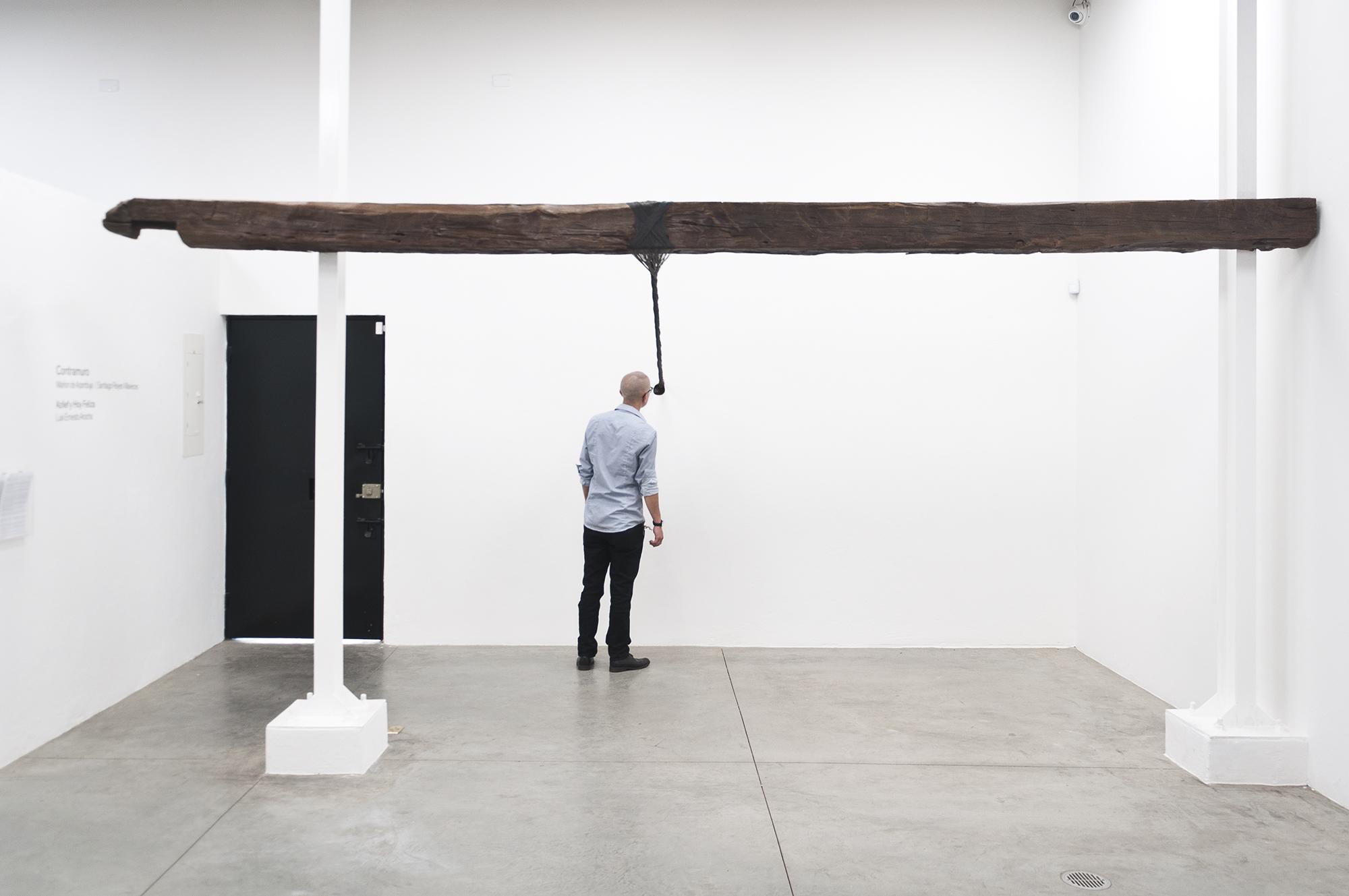 Santiago Reyes Villaveces  ©  2015 ,  Braid . Wood beam and steel wire.  18 x 10 x 15 f (545 x 300 x 450 cm) . Courtesy of the artist. Photo: Sebastian Cruz