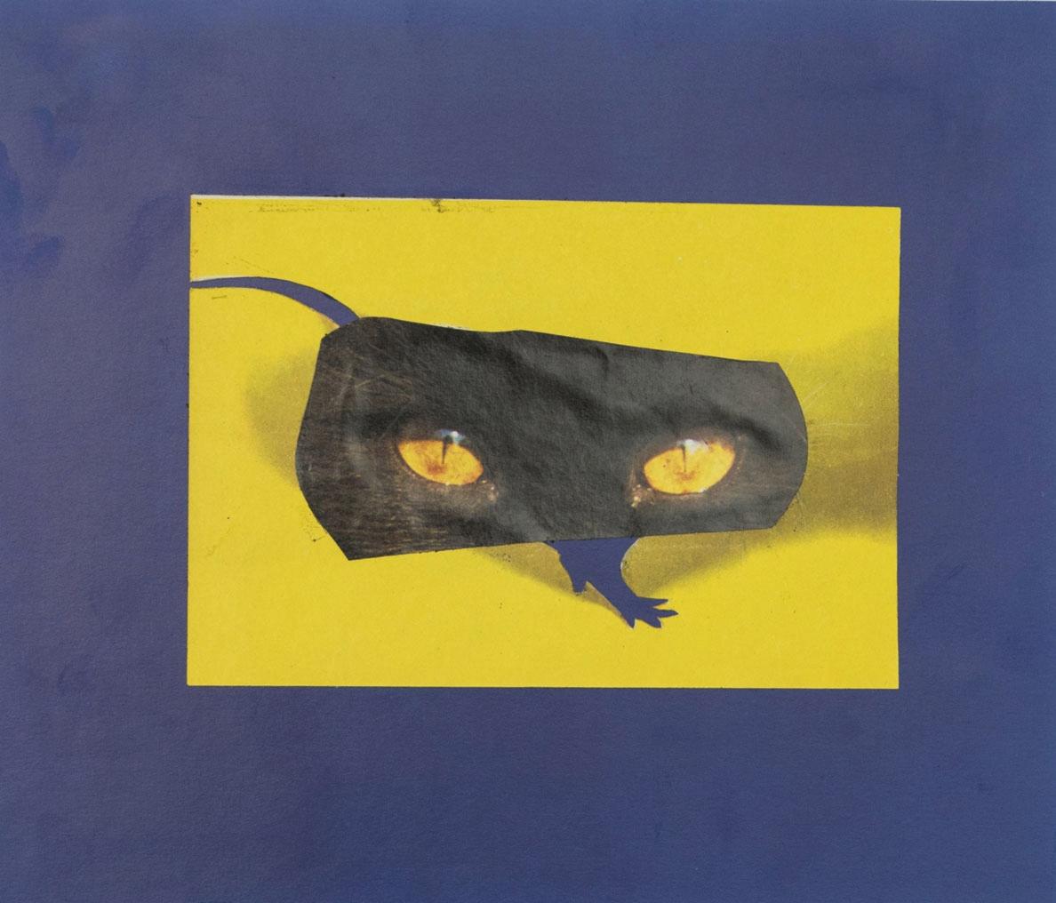 Kot i mysza 19 x 22 cm Collage sur papier 2017