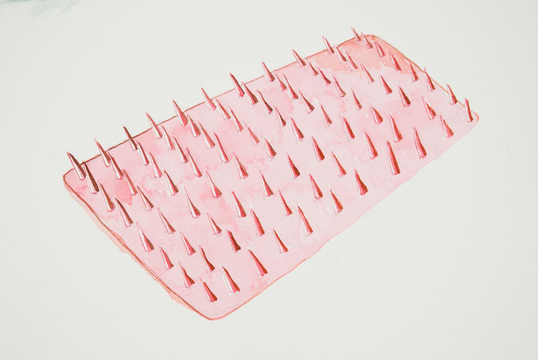 Pink Bed Aquarelle sur papier 2016
