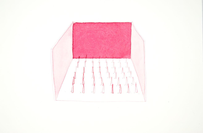 Pink Box Aquarelle sur papier 2016