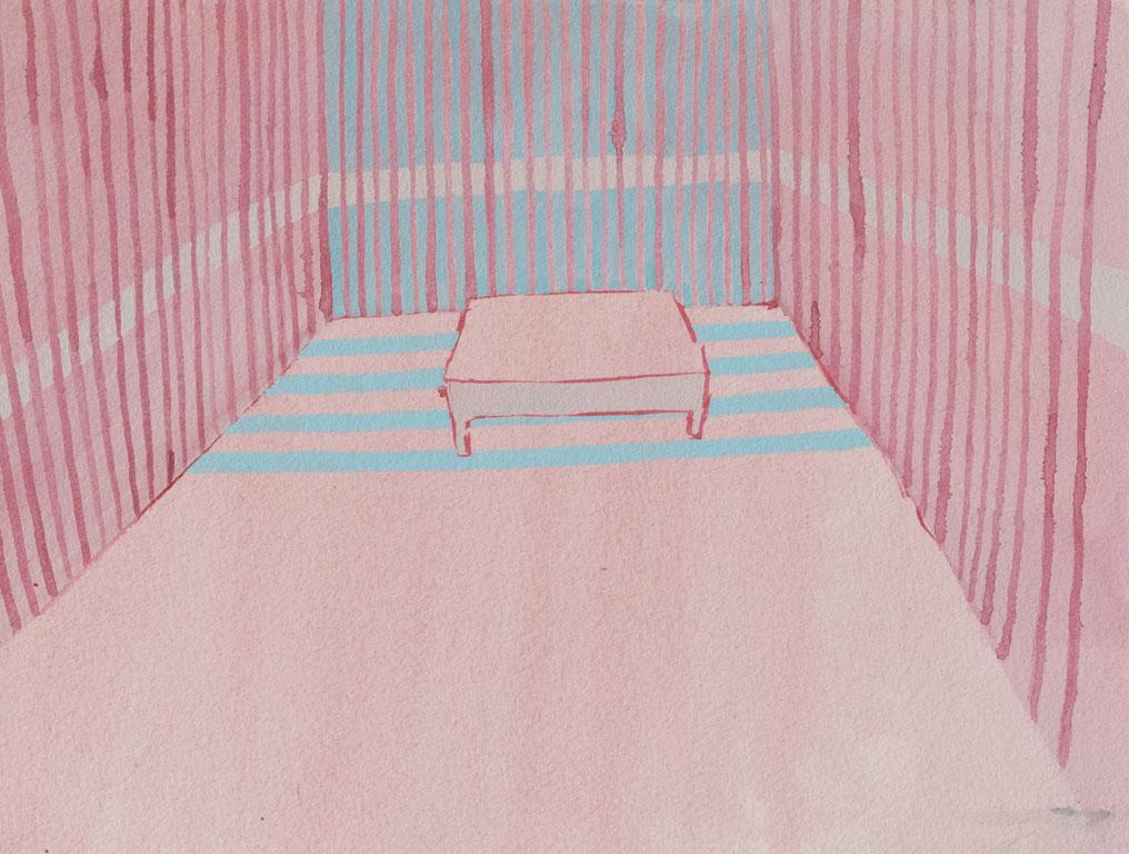 Pink Room Aquarelle sur papier 2017