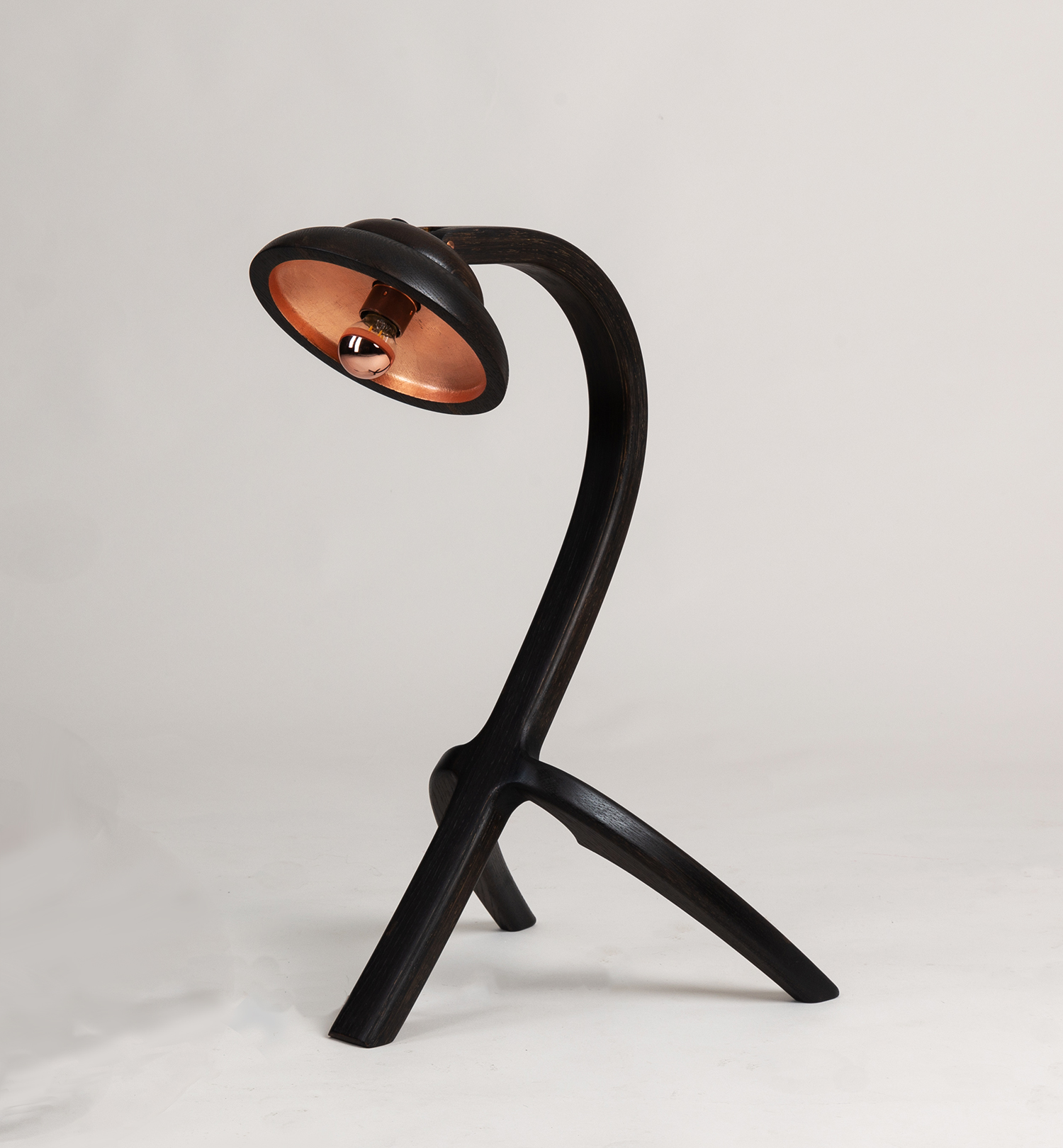 Eala Lamp in ebonised Oak with copper gilding to shade