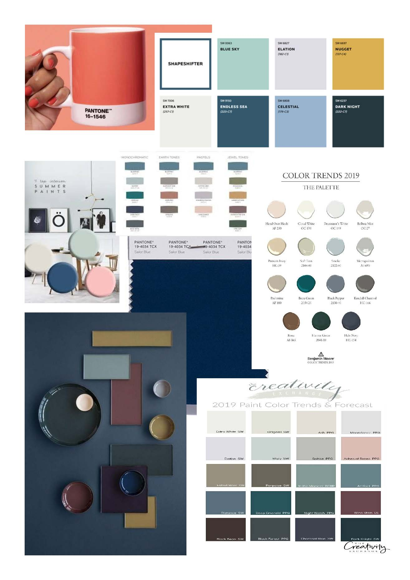 Colours of 2019? Pantone's colour of the year included at the top left of the image