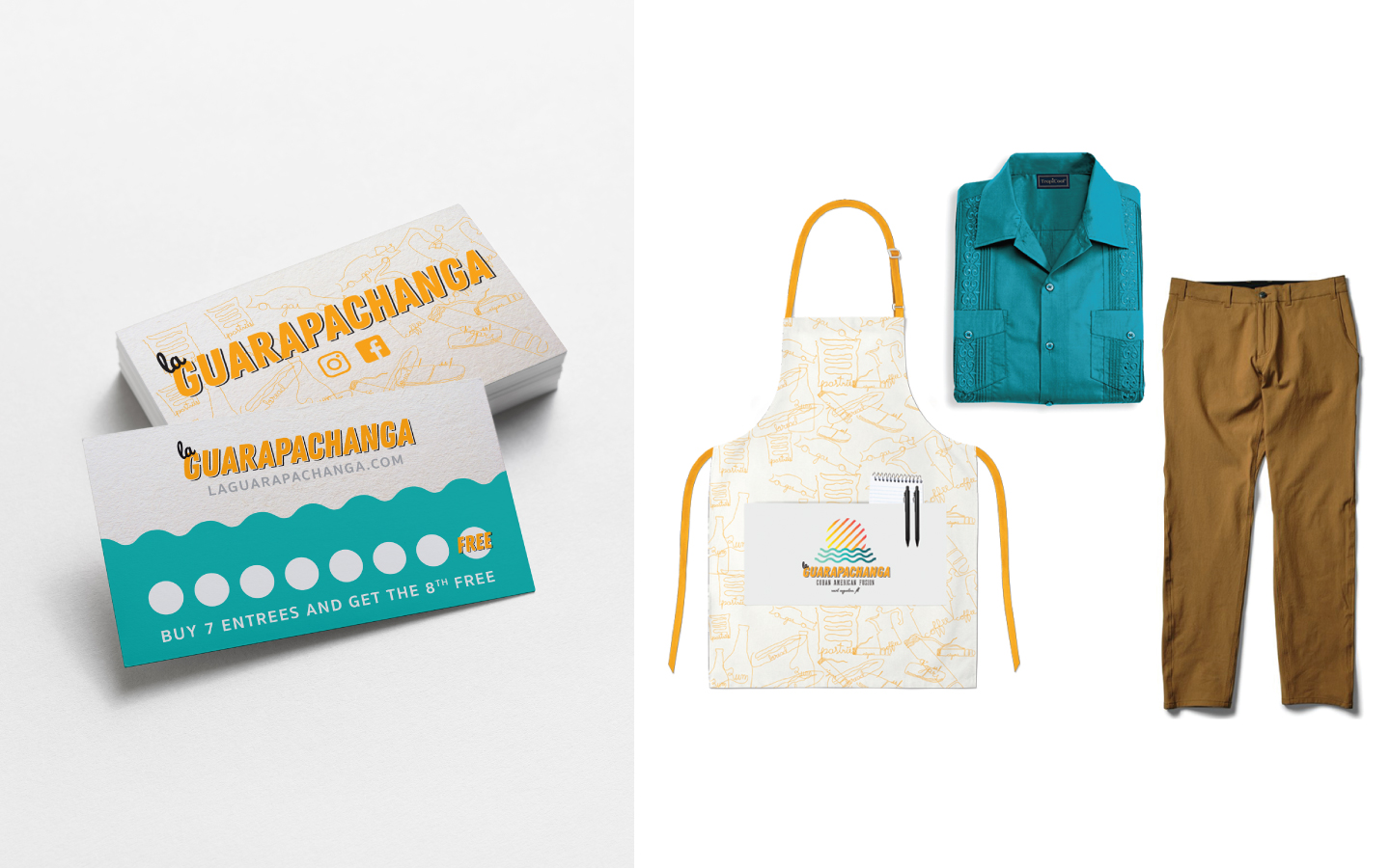 Left: Multipurposebusiness card and punch card Right: Unisex server uniforms consisting of apron, trousers, and guayaberas, a traditional Cuban wear