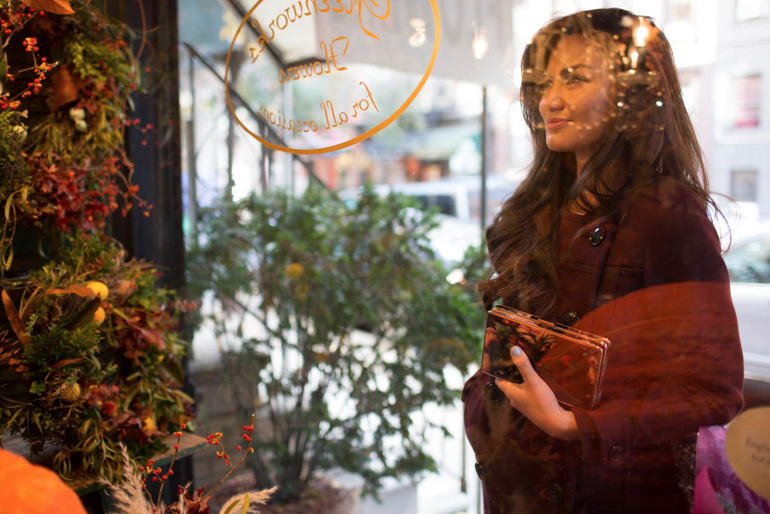 Burgundy Burberry Winter Coat New York Christmas with Caila Quinn