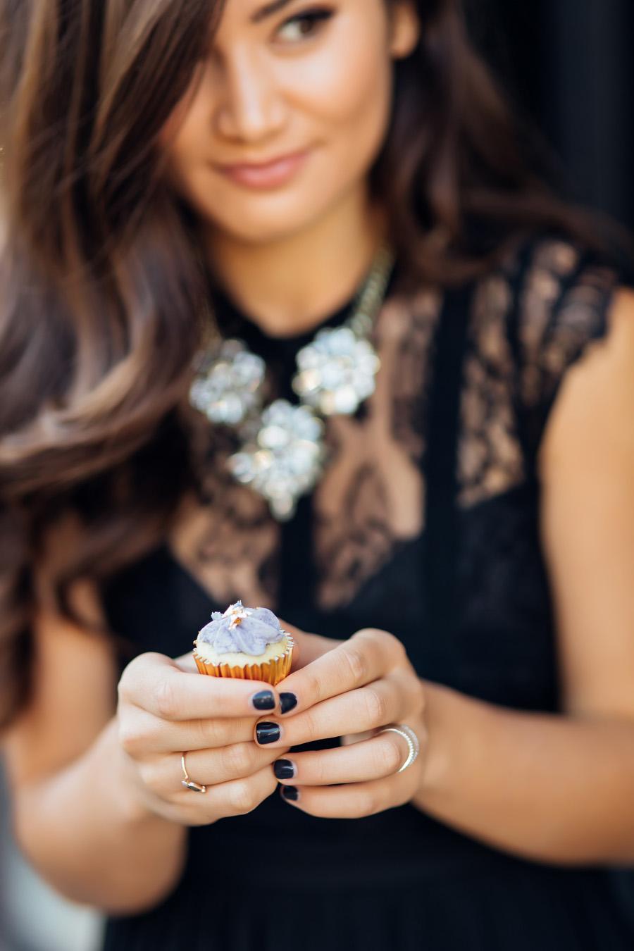 Caila Quinn 25th Birthday Black Morning Lavender Long Dress