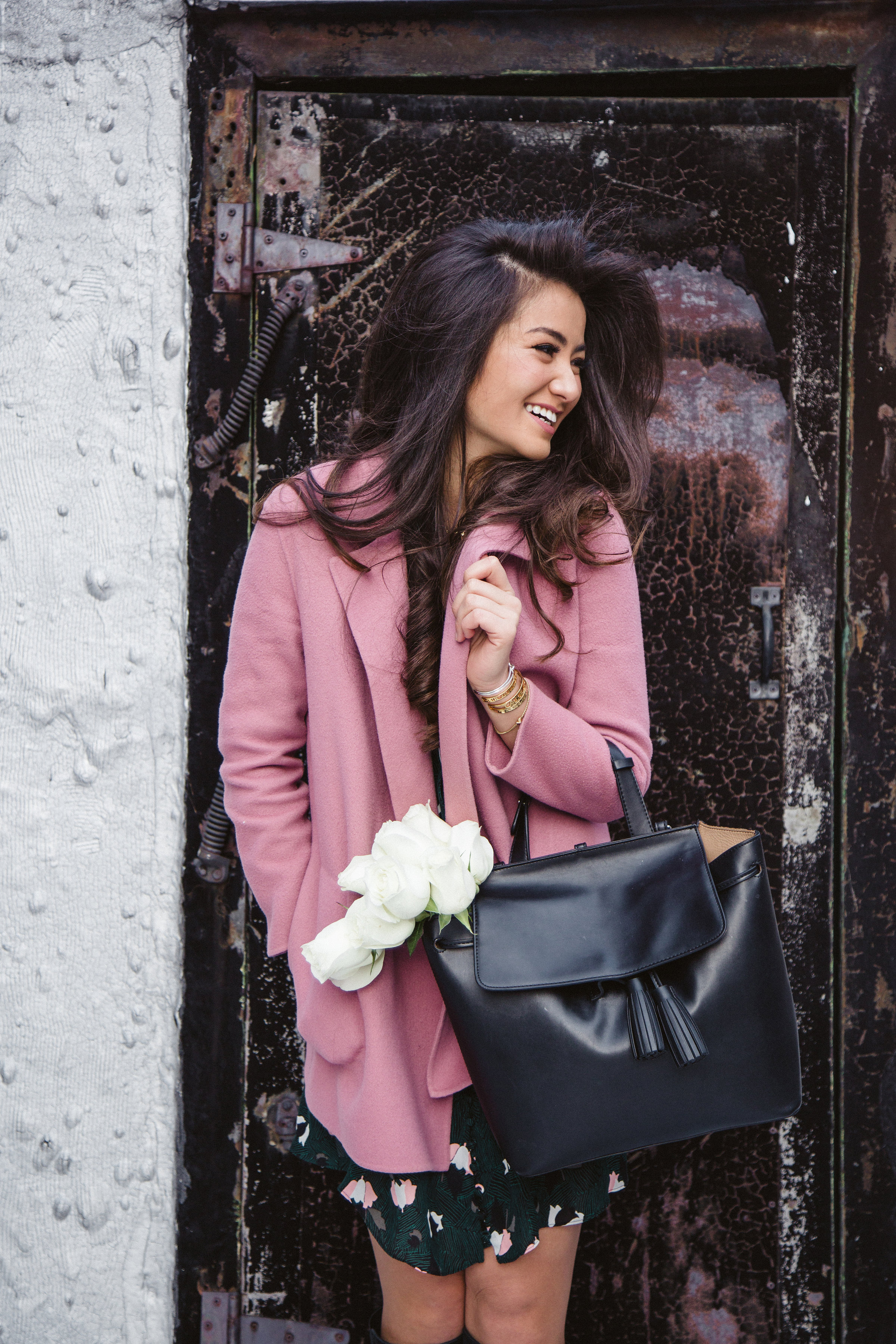Caila Quinn Valentine's Day Pink Coat Look