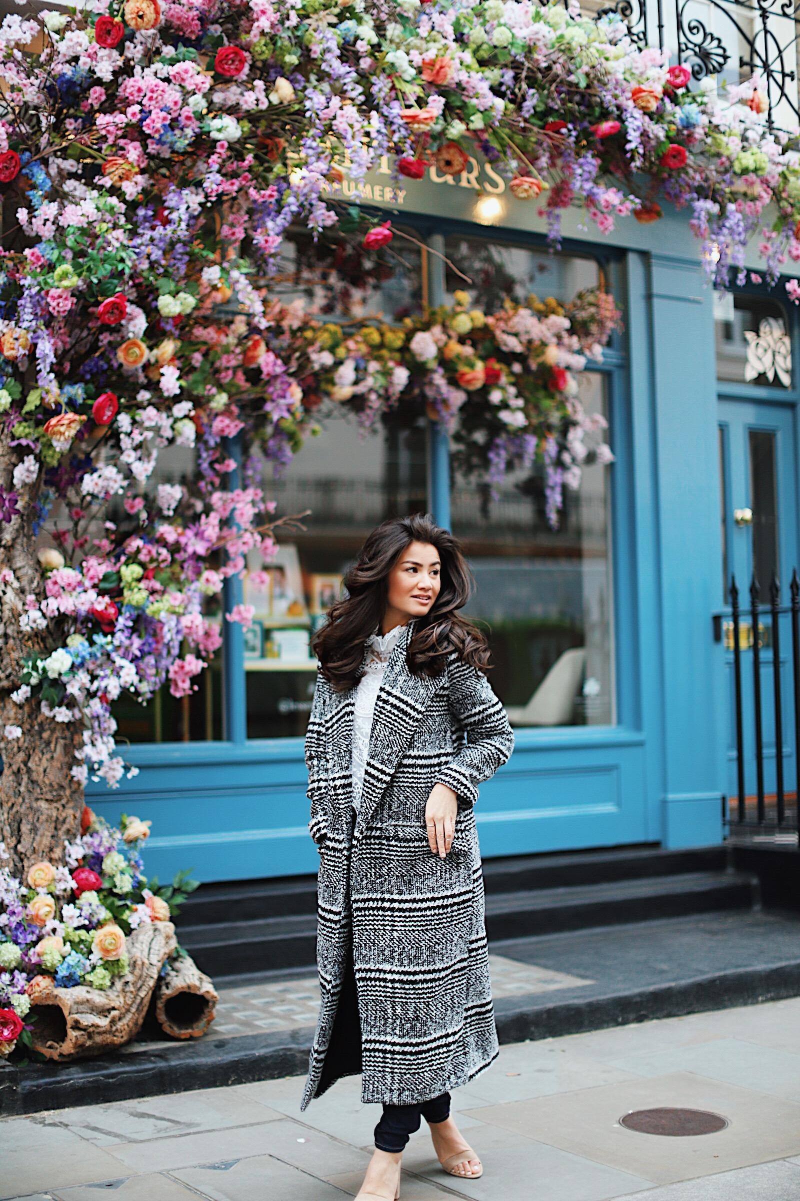 London Black Check Coat with Caila Quinn