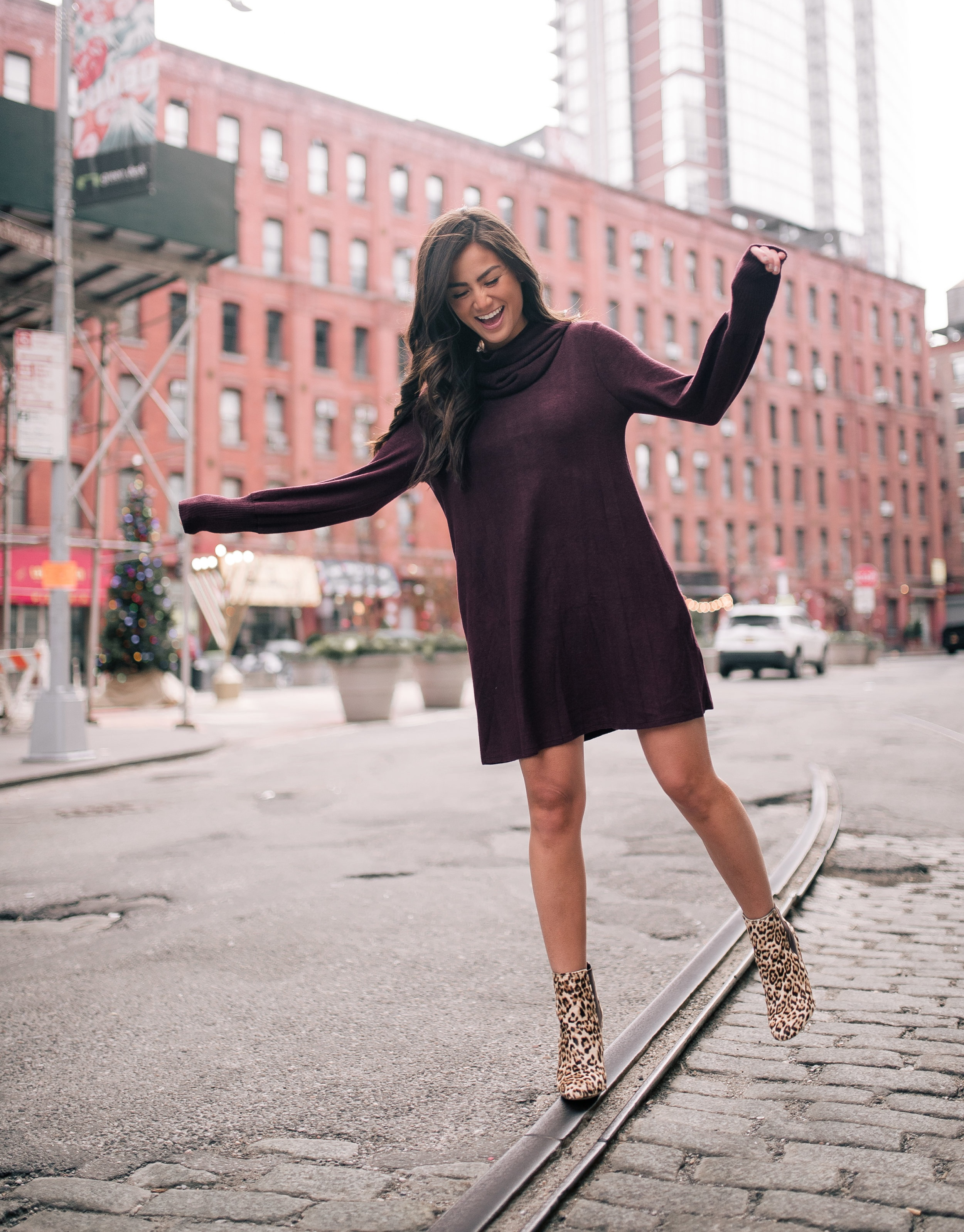 The Bachelor Halfie Caila Quinn Christmas Time Fashion Blogger for Stage Stores Maroon Sweater Dress