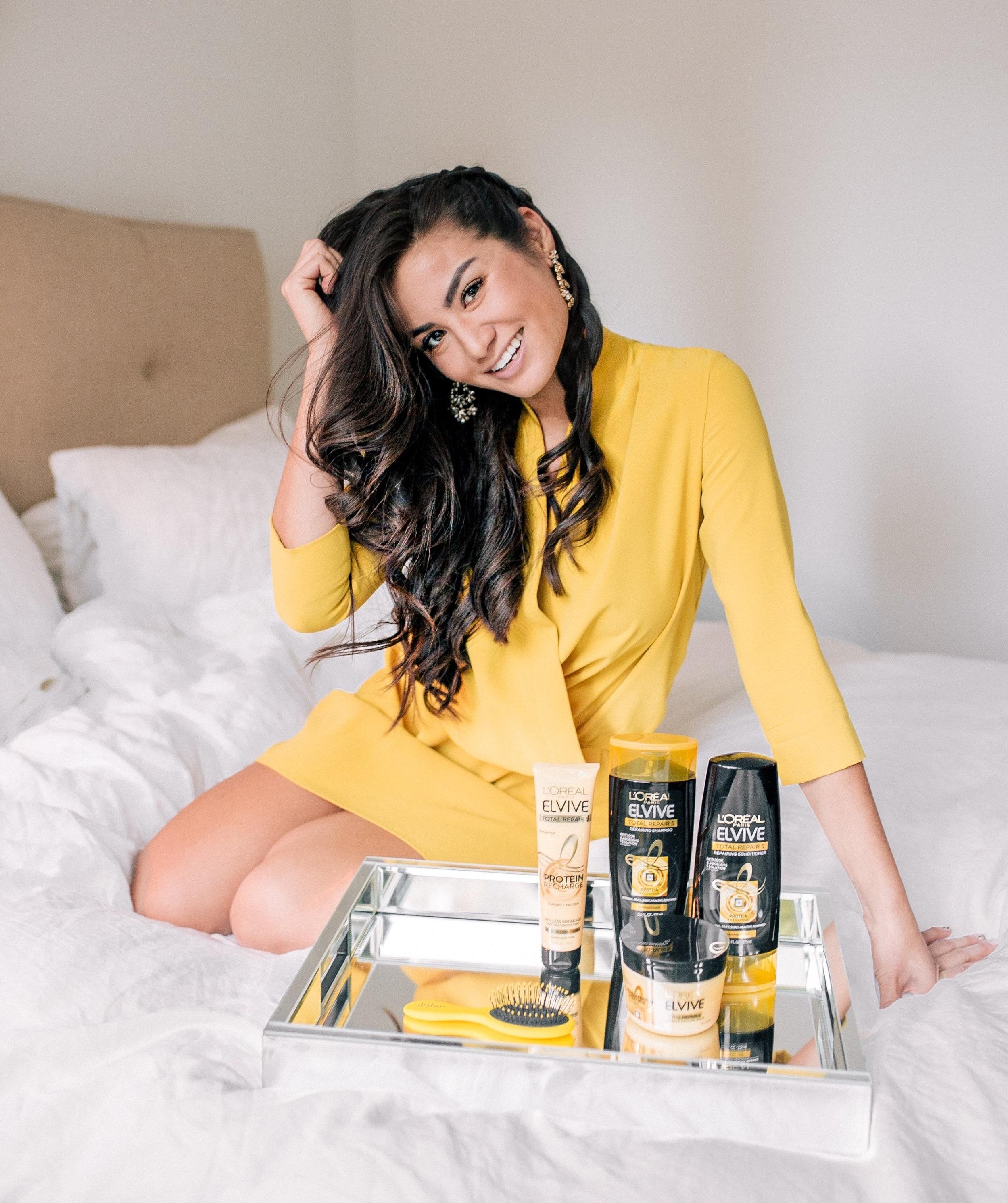 Caila Quinn The Bachelor Hair Routine Loreal Elvive Shampoo and Conditioner Hapa Filipino Irish Curls