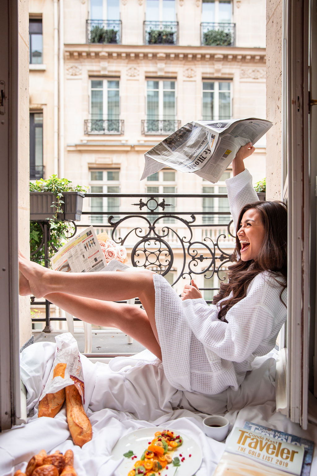 Caila Quinn The Bachelor Travel Blogger Paris Guide Sofitel Accor Hotel Glamorous bedroom wakeup mask in comfy French bed