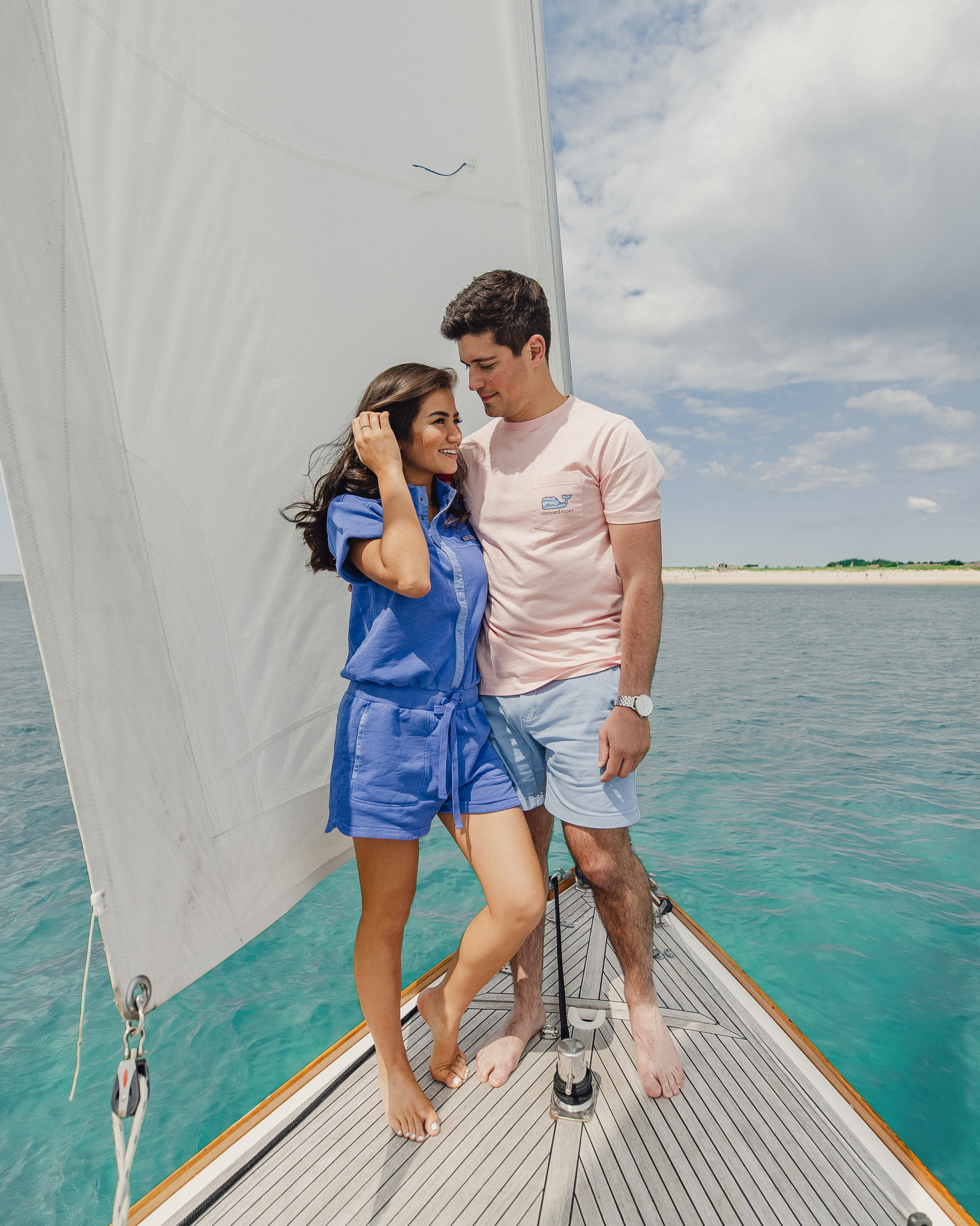 Caila Quinn The Bachelor Vineyard Vines Couples Weekend with Olivia Rink and Nick Burrello Cape Cod Chatham Bars Inn Sailboat