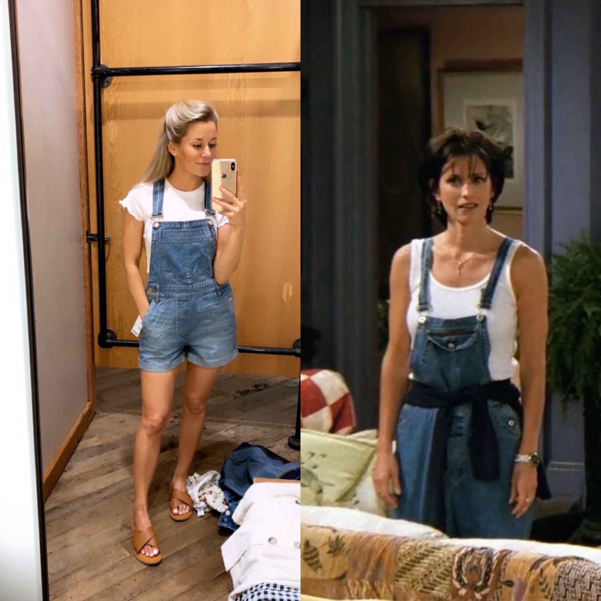 Caila Quinn and Olivia Rink Halloween Friends TV Show Monica and Rachel 90s Outfit Costume