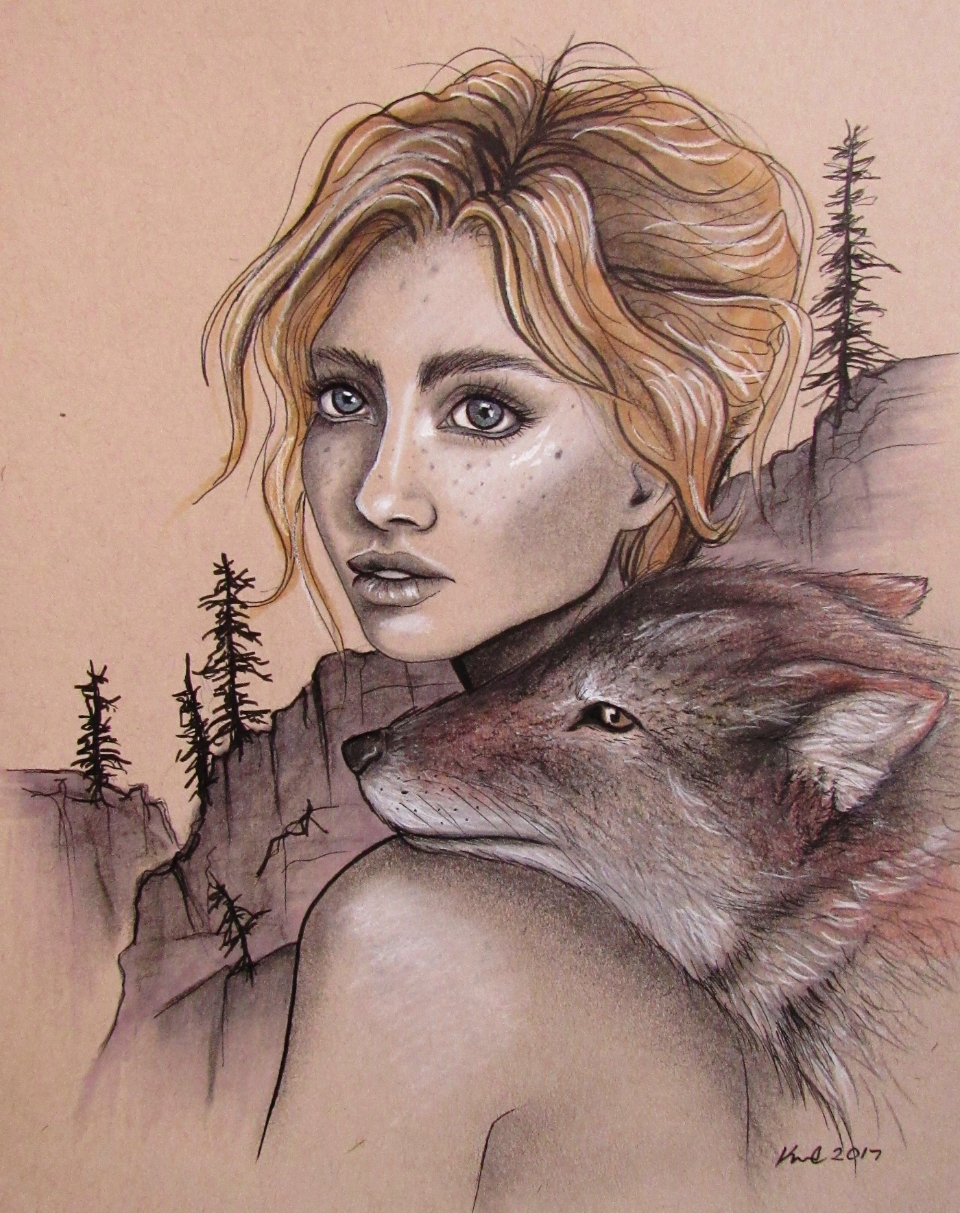 coyote woman illustration