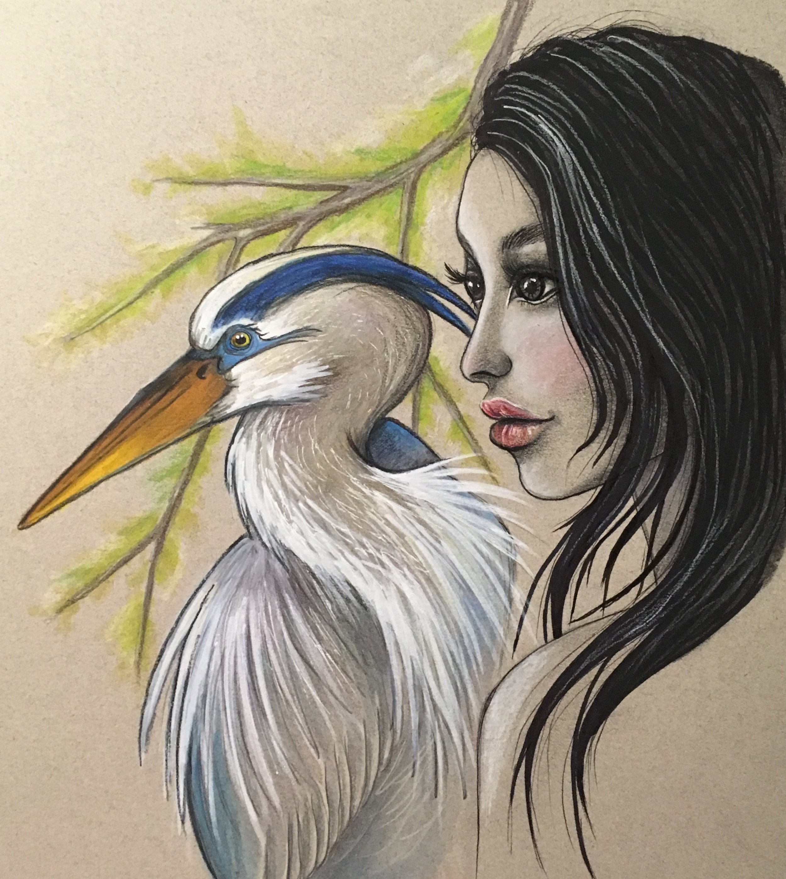 woman and blue heron