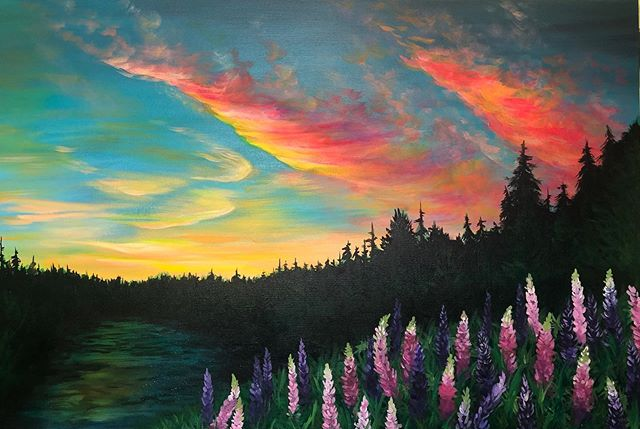 Lupine sunset from Finland, MN #mnartists #stpaulartist #lupine #sunset #painting #acrylicpainting  #mnart #stpaulart