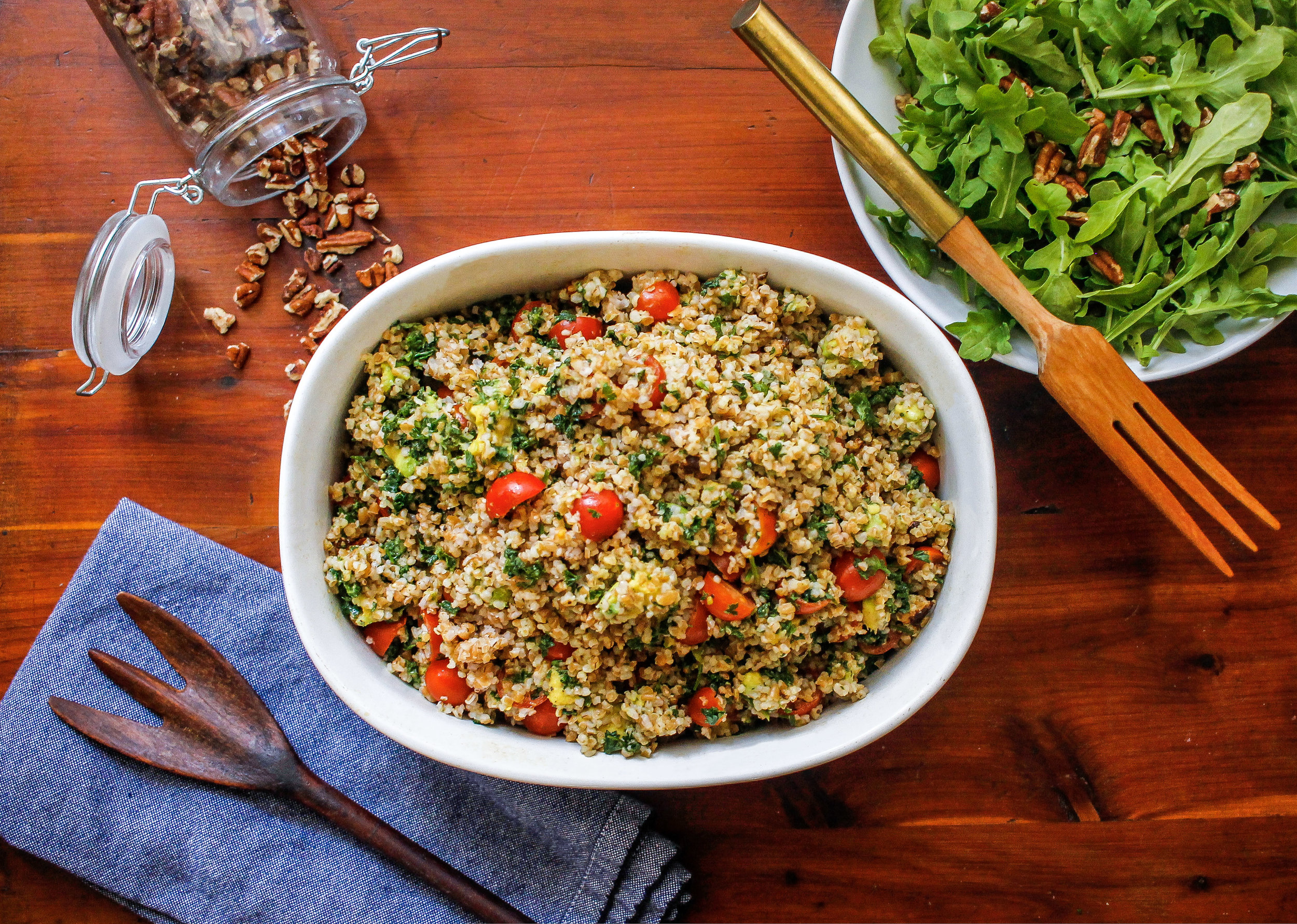 Avocado Tabbouleh served with baby Arugula and chopped Pecans