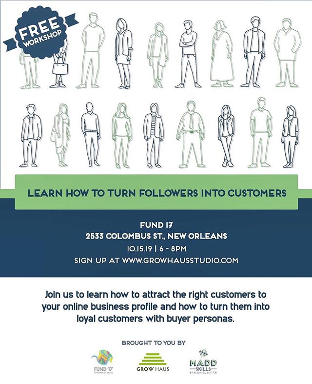 Need to amp up your marketing, but don't know where to start? Our first piece of advice: narrow down your buyer personas to a list of at least 3, no more than 6.  Developing buyer profiles for your ideal customer groups is the first step to identifying who will most likely shop with you, understanding what kind of content they'll engage with, and crafting better sponsored ads. . . . TOMORROW | Join us at @fund_17 to take your business marketing to the next level. Bring yourself, a way to take notes, and your ideas for creatively marketing and branding your business!  #neworleanssmallbusiness #workshop #free #marketing #entrepreneur
