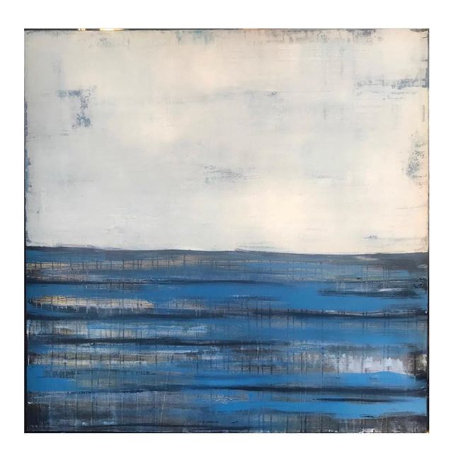 "Available 60"" by 60"" ""Blue Ocean with Gold"" #galleryartist #instaartist #instaart #artwork#instagreat #instagood #oceanart #waterway #texture #abstract #abstractart"