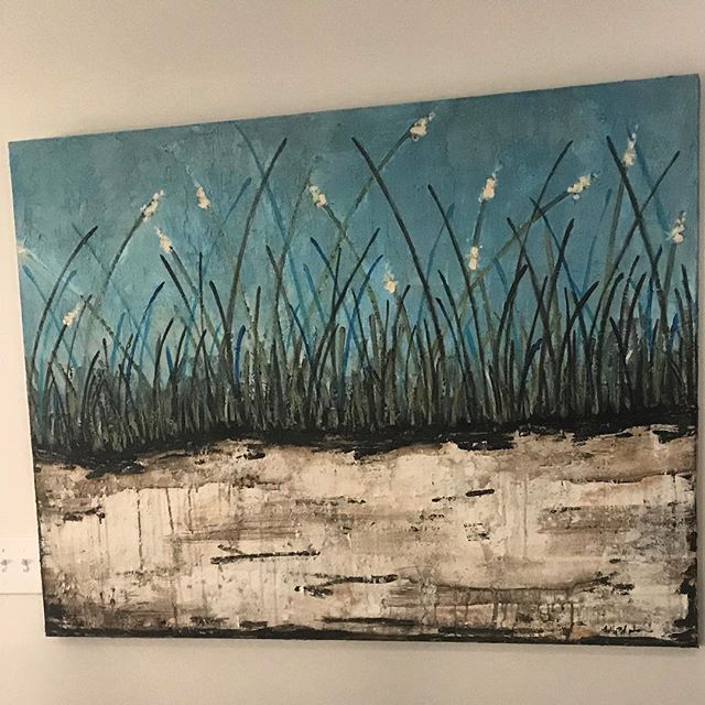 "Sawgrass piece I just finished 36"" by 48"" DM me for your very own ❤️#instaart #galleryartist #instagood #beachart #art #artwork #beach #texture #sawgrass #coastalart #coastaldecor #interiordesign #artforsale"