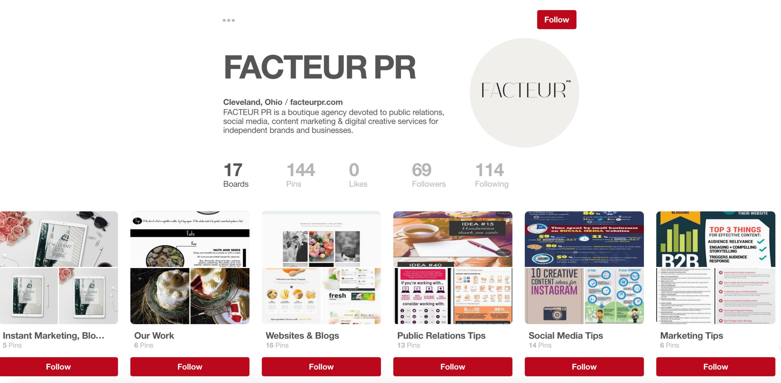 Follow FACTEUR PR ON pinterest for more social media, marketing, and pr tips!