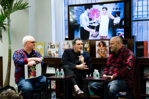 Image Above: ©Elizabeth Mealey, Mickey Boardman (left),Isaac Mizrahi (center) and Nick Waplington (right) at the Rizzoli Bookstore