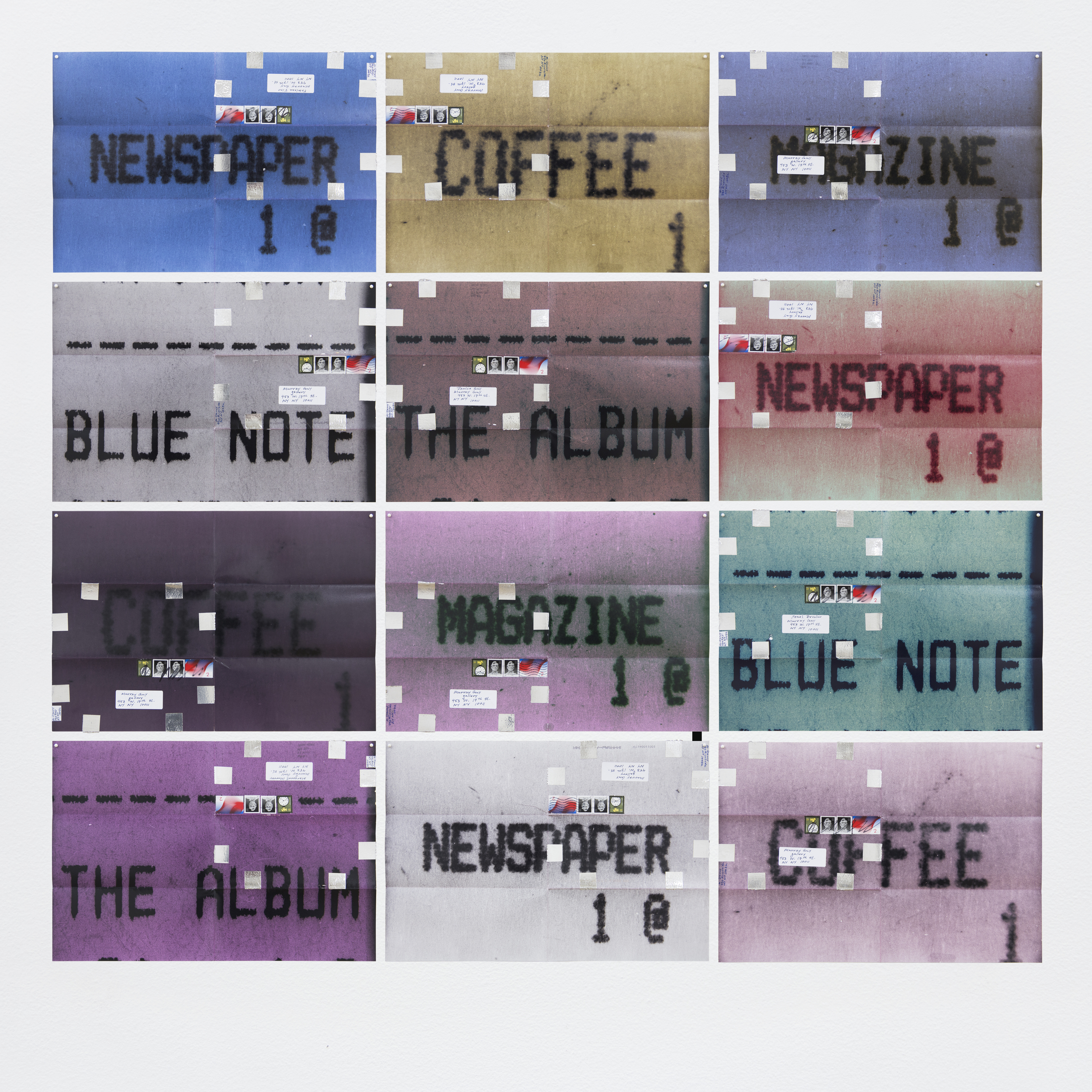 Image above: ©Moyra Davey,Newspaper, Coffee, 2015-16,12 c-prints, tape, postage, ink   / Courtesy of Murray Guy
