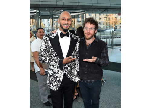 Image above: Swizz Beatz and Dustin Yellin, Photo by Nicholas Hunt/Getty Images for Brooklyn Museum