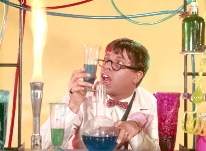"""Image Above: Jerry Lewis plays a hapless academic who invents a potion that temporarily transforms him into a dashing crooner and man about town in """"The Nutty Professor"""" (1963), directed by Mr. Lewis. Credit Paramount Pictures/Warner Bros. Home Entertainment Inc."""