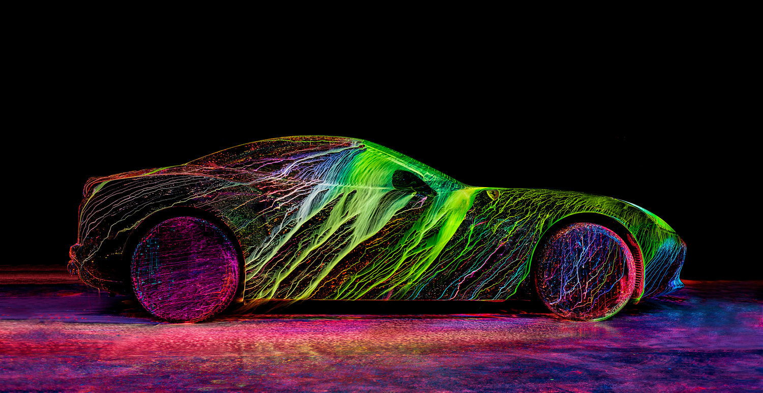 """Image Above: ©Fabien Oefner, Still Photograph from the Project, """"The Visualisation of Speed;"""" in collaboration with Ferrari / Courtesy of the Artist"""