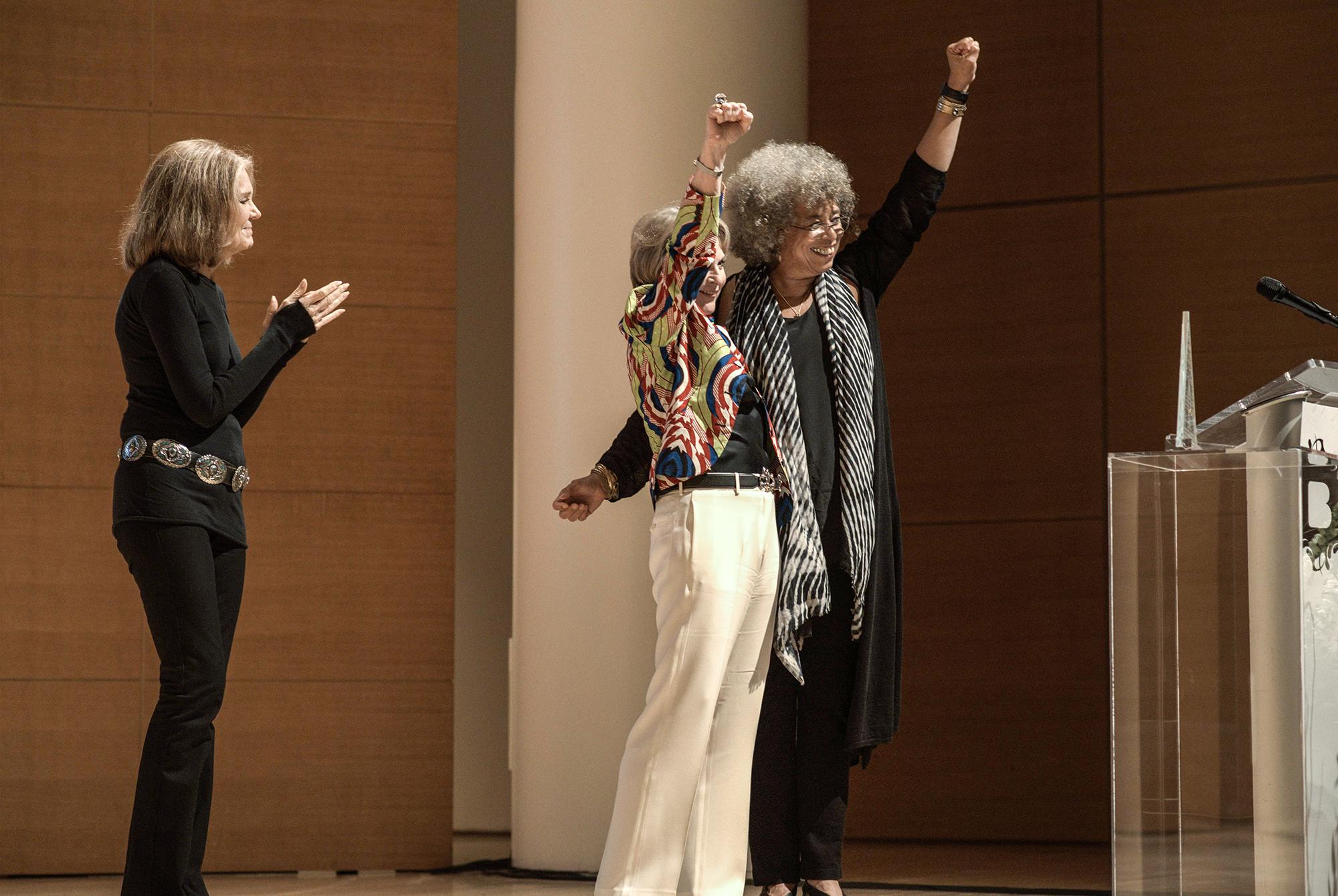 From left:  Gloria Steinem,  Elizabeth Sackler, &Angela Davis;Photograph ©Malcolm D. Anderson