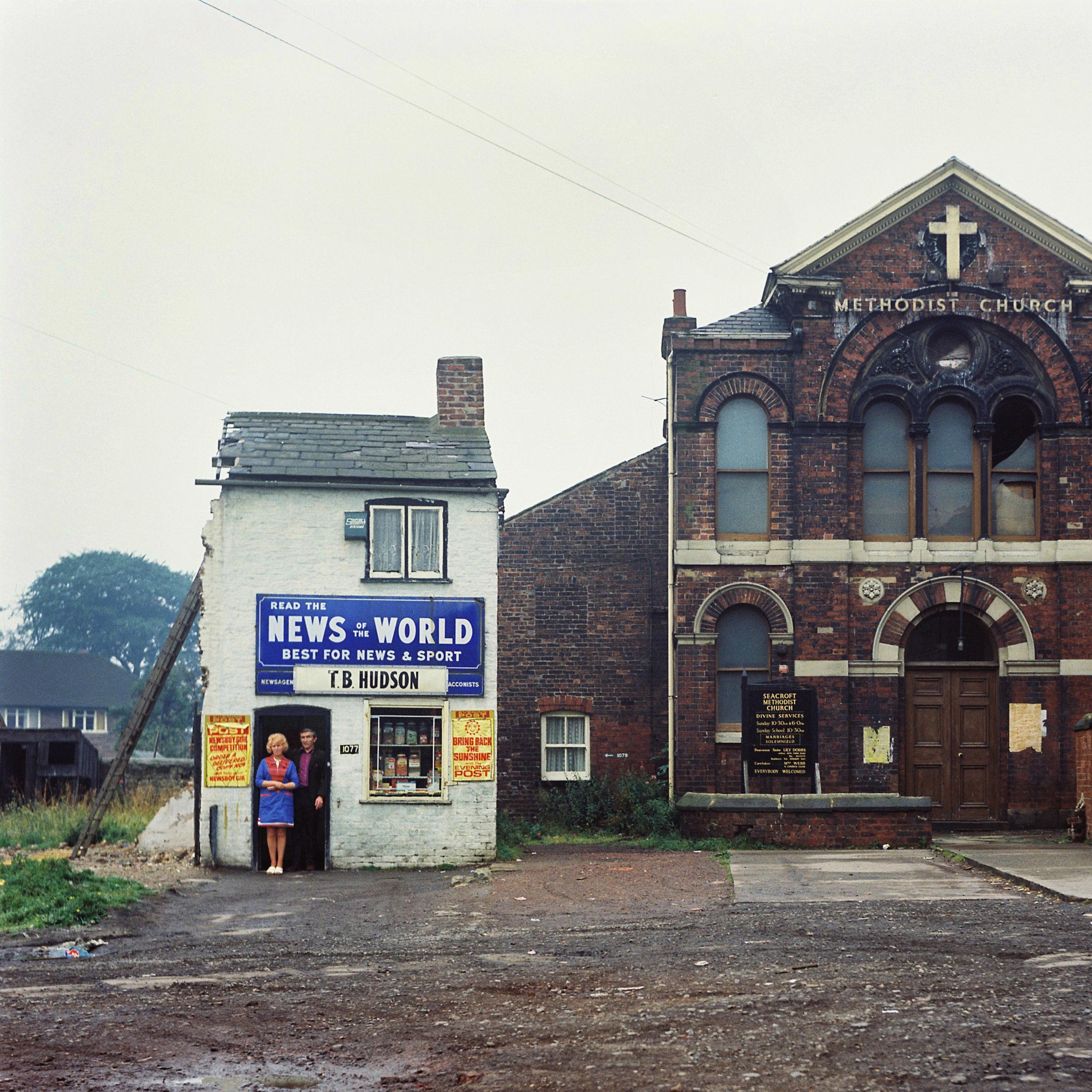 ©Peter Mitchell,Mr. & Mrs. Hudson. Wedsneday 14 August 74. 11 a.m. Seacroft Green, Leeds.