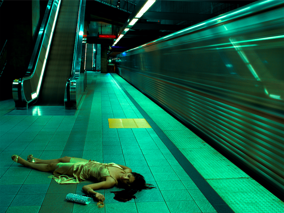 """©   Melanie Pullen,    High Fashion Crime Scenes,    Untitled (Metro Series),   2005.  C-Print and Mixed Media, Plexiglass Face Mount, Edition of 5.  36"""" x 48"""", 64"""" x 48"""", 70"""" x 93"""""""