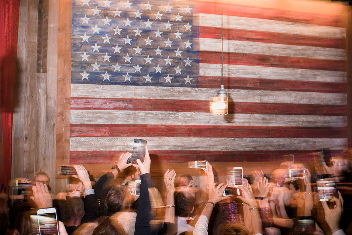 Ted Cruz supporters try to catch a glimpse of the Senator at the Redneck Country Club Victory Rally held in Stafford, Texas on Tuesday, March 2, 2016  (©Mark Davis)