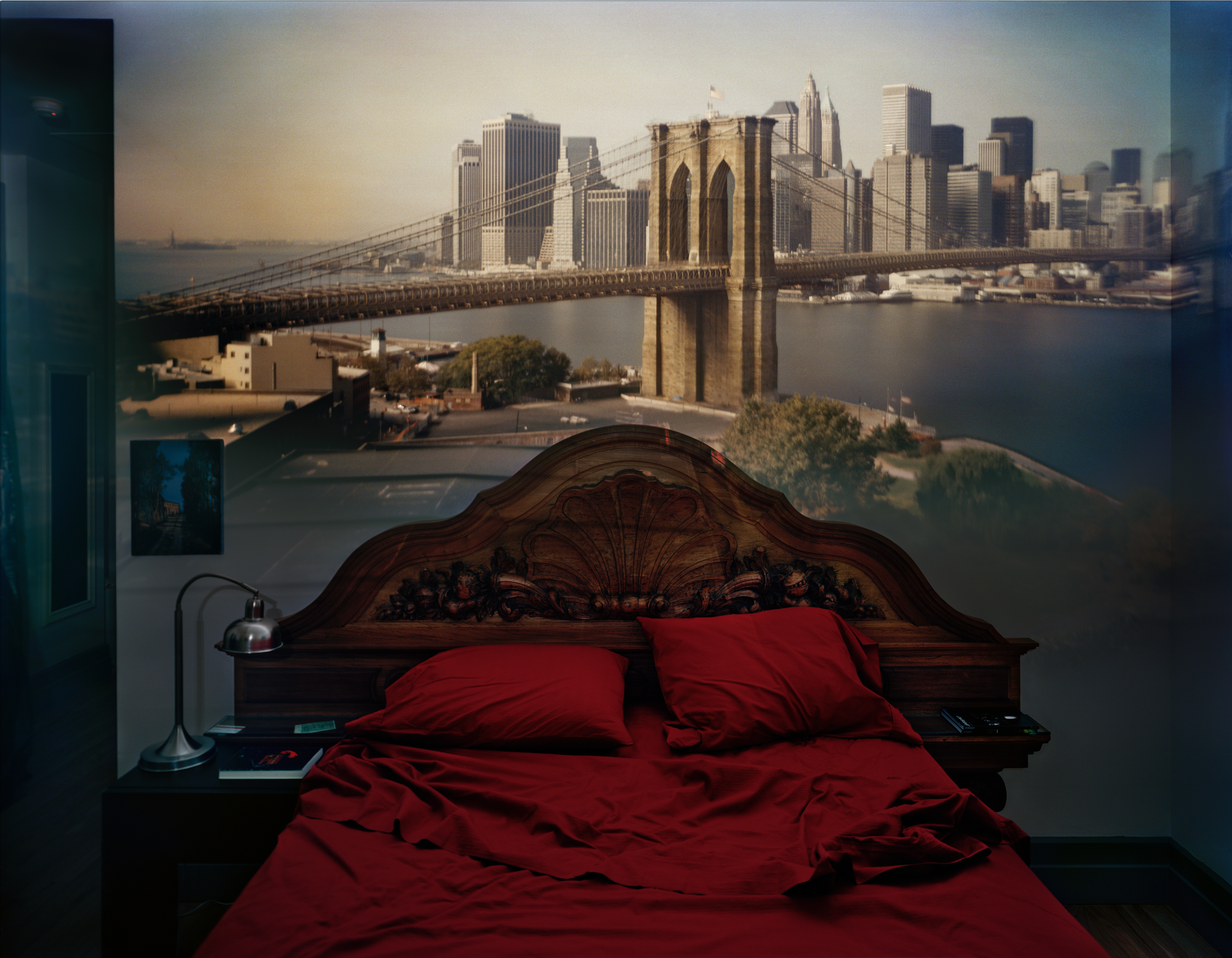 Abelardo Morell, Camera Obscura:  View Of The Brooklyn Bridge In Bedroom , 2009.