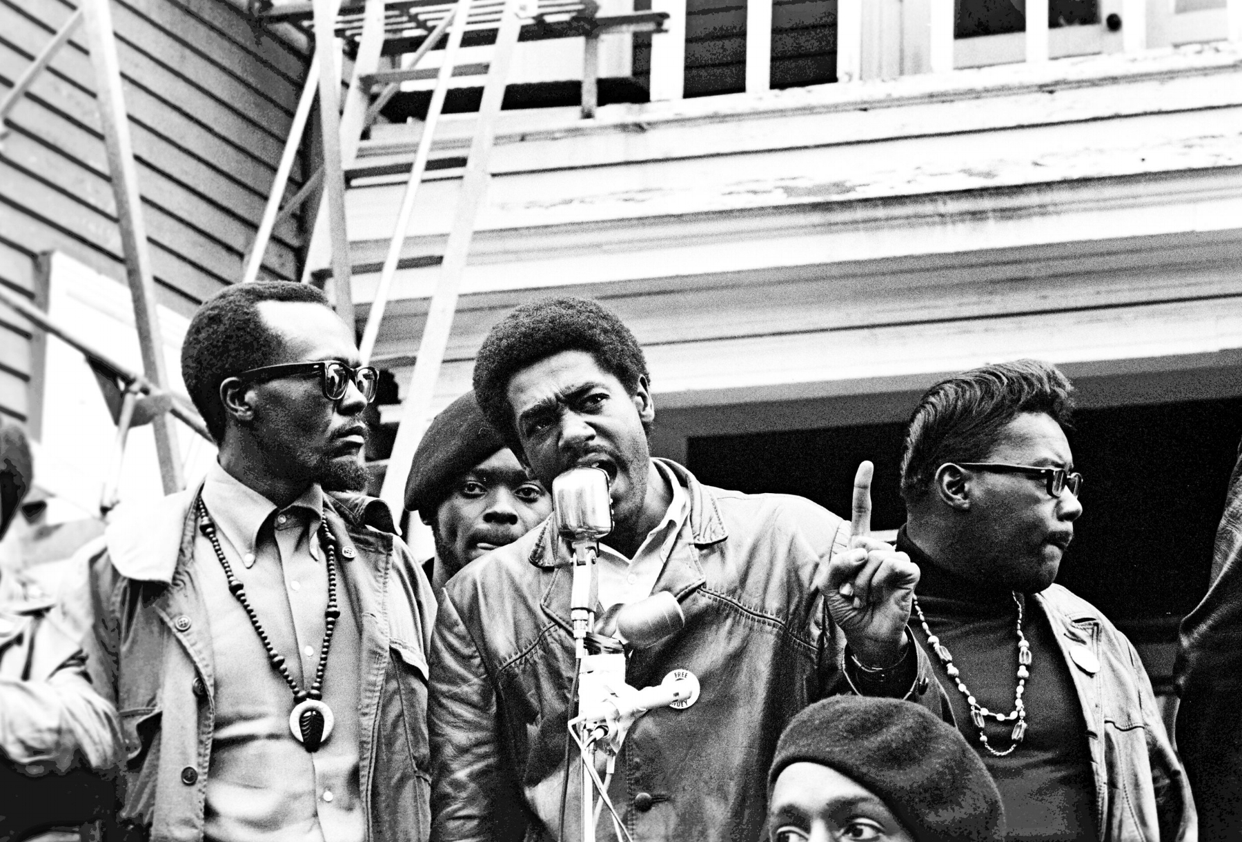 Image Above: Bobby Seale speaks at a Free Huey rally in DeFremery Park, Oakland, 1968. Left of Seale is Bill Brent, who later went to Cuba. Right is Wilford Holiday, known as Captain Crutch.All images: Stephen Shames, Courtesy of Steven Kasher Gallery