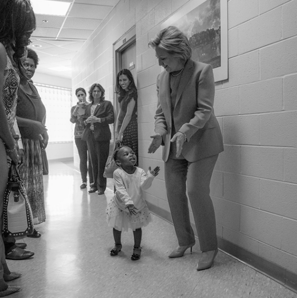 "© @HillaryClinton's Twitter account, captioned ""To every little girl who dreams big: Yes, you can be anything you want—even president. Tonight is for you. -H"" tweeted on June 7, 2016 at 6:08 pm"